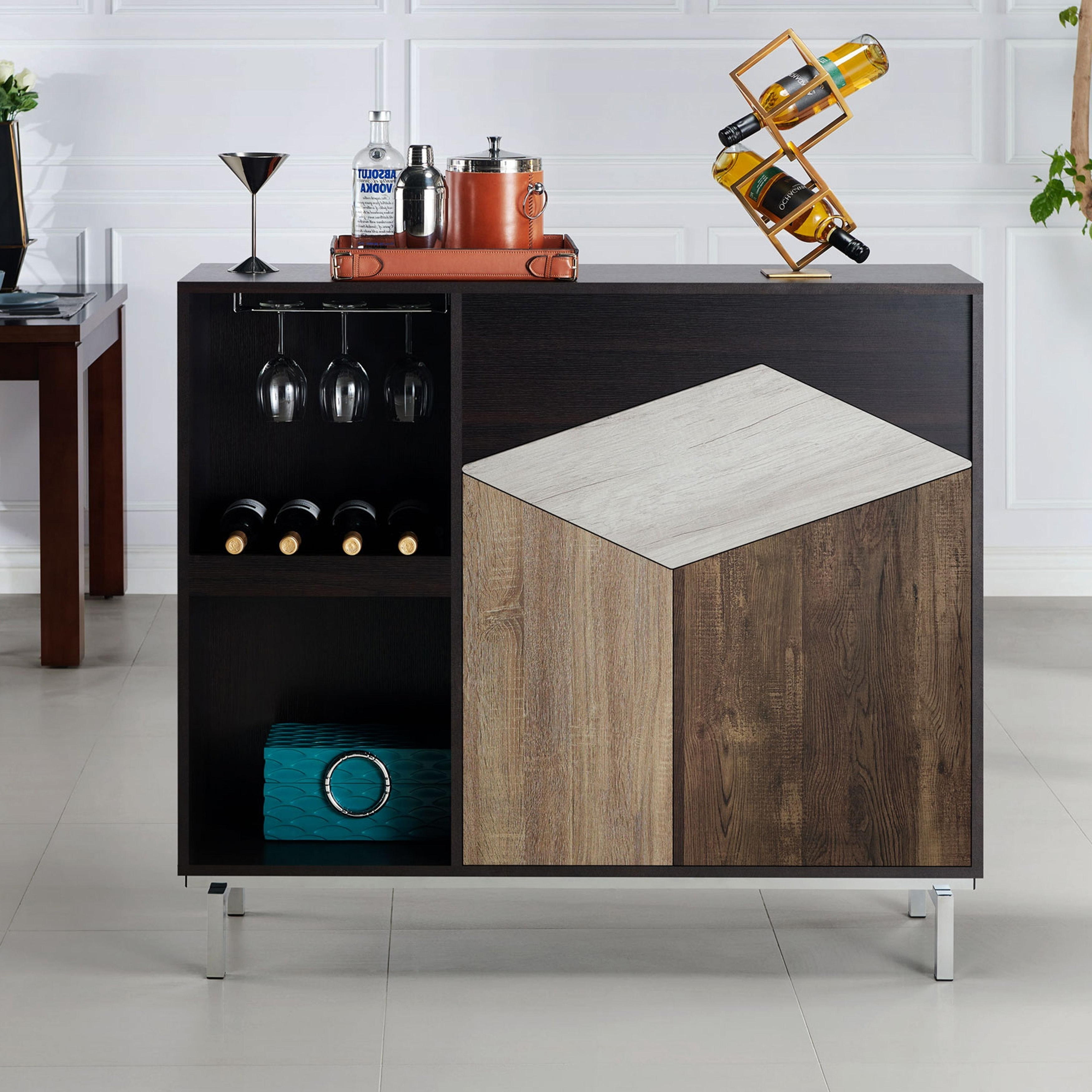 Kirill Modern Espresso Server With Wine Rackfoa Intended For Carbon Loft Feleni Contemporary Buffets (Gallery 10 of 20)