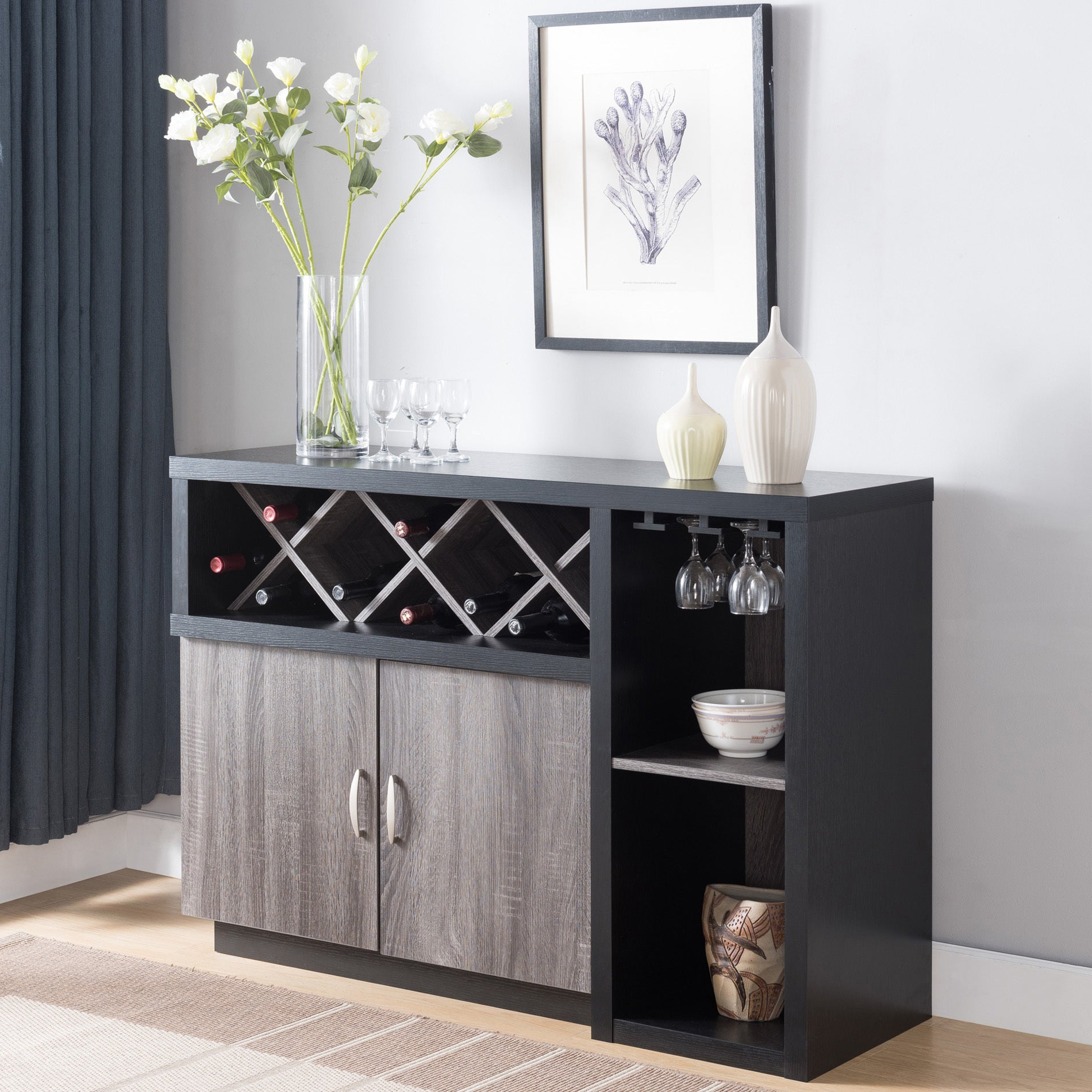 Lantana Contemporary Distressed Grey Buffetfoa Pertaining To Contemporary Style Wooden Buffets With Two Side Door Storage Cabinets (View 11 of 20)
