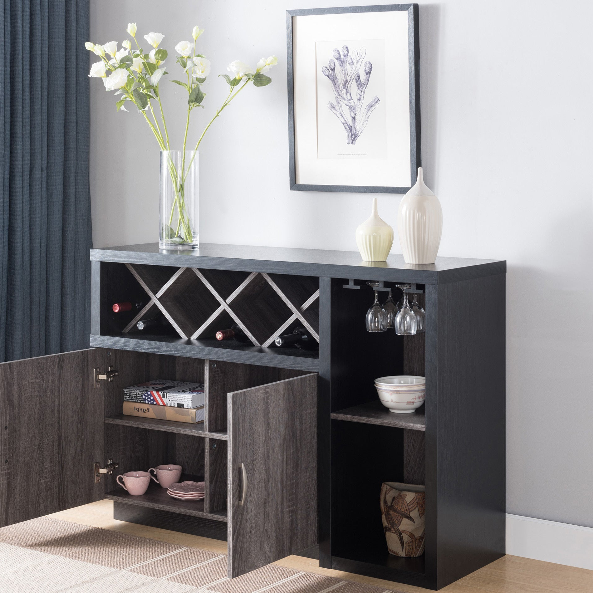 Lantana Contemporary Distressed Grey Buffetfoa Within Contemporary Style Wooden Buffets With Two Side Door Storage Cabinets (View 12 of 20)