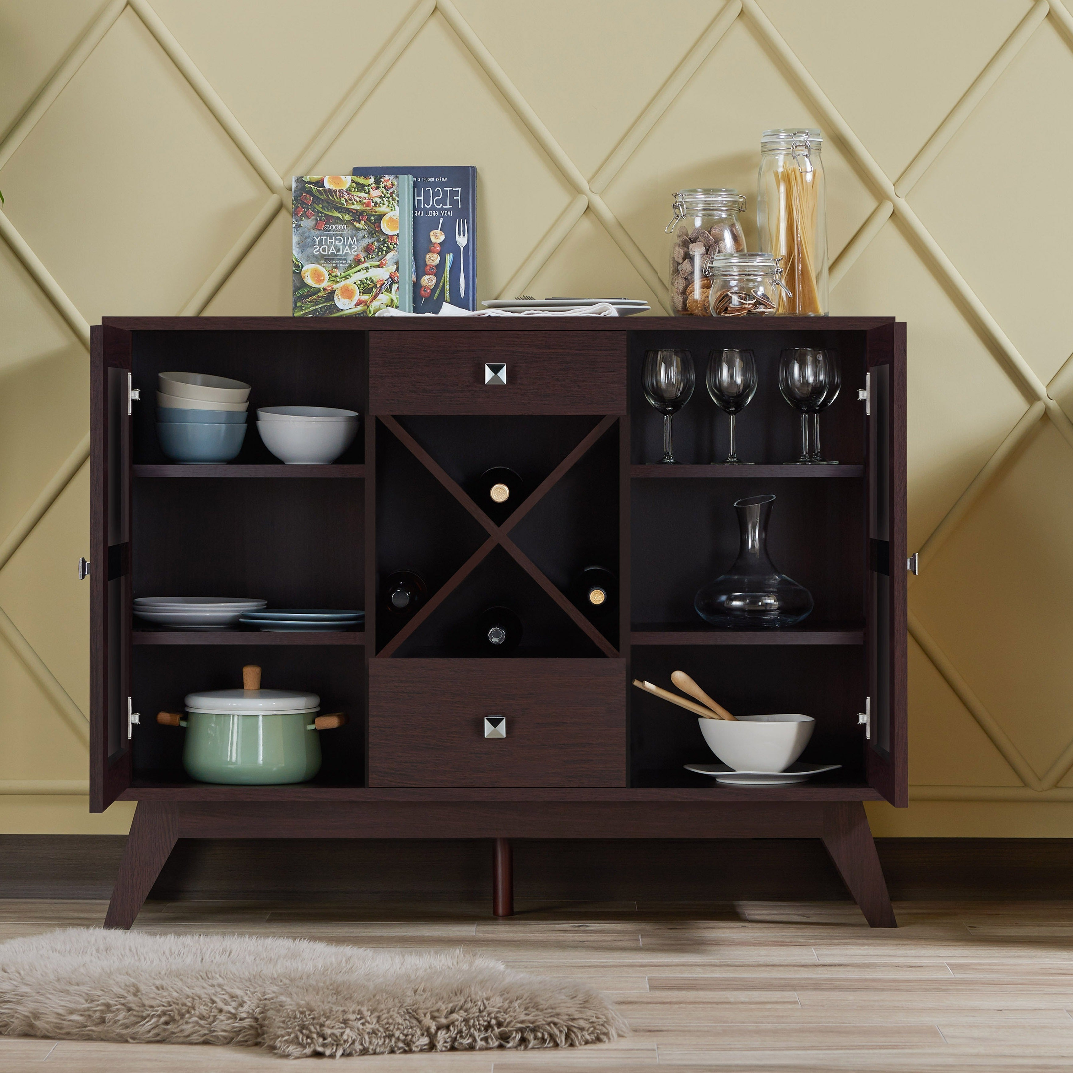 Lenta Contemporary Espresso 2 Cabinet Dining Buffetfoa Intended For Contemporary Espresso 2 Cabinet Dining Buffets (View 14 of 20)
