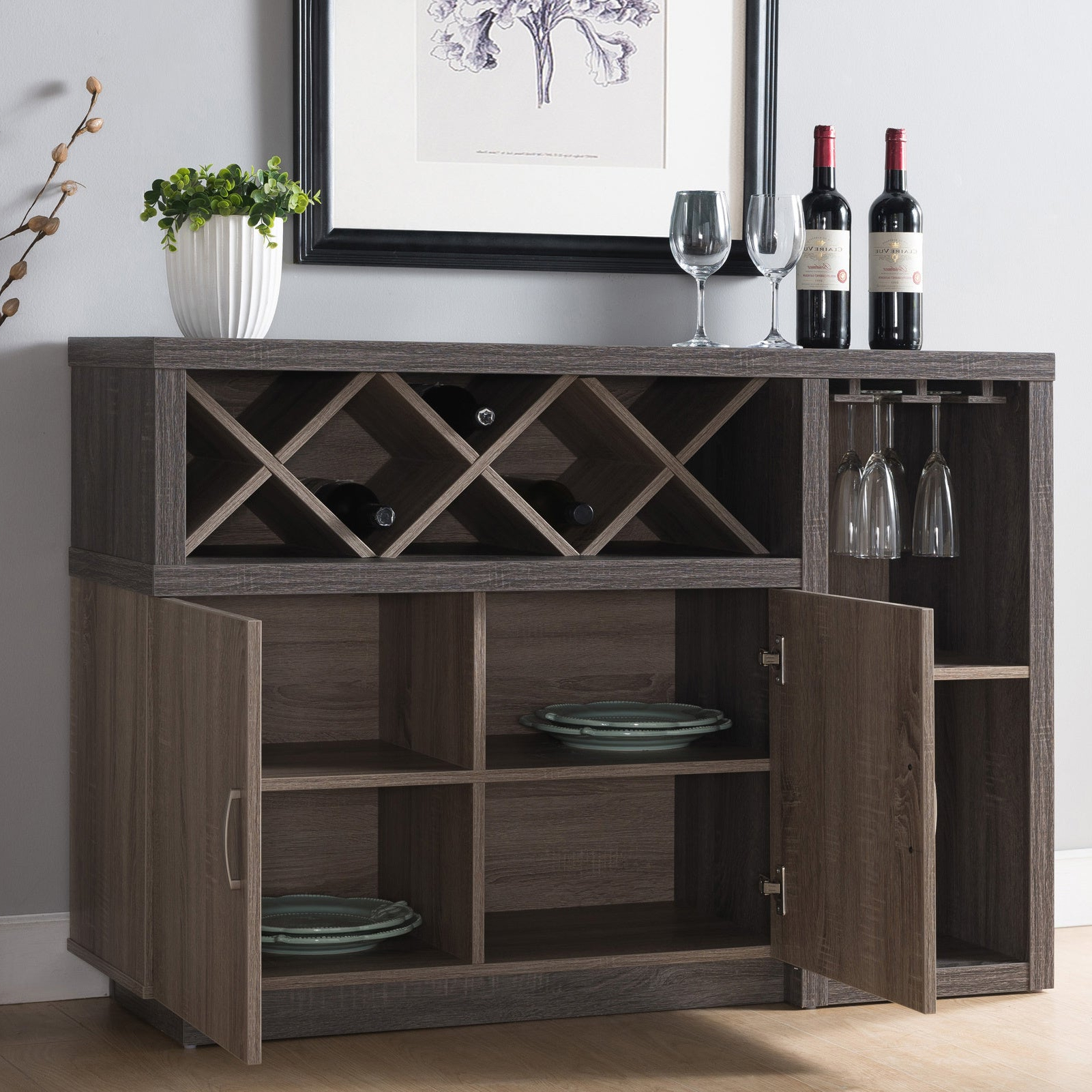 Letty Contemporary Distressed Grey Dining Serverfoa With Contemporary Distressed Grey Buffets (View 5 of 20)