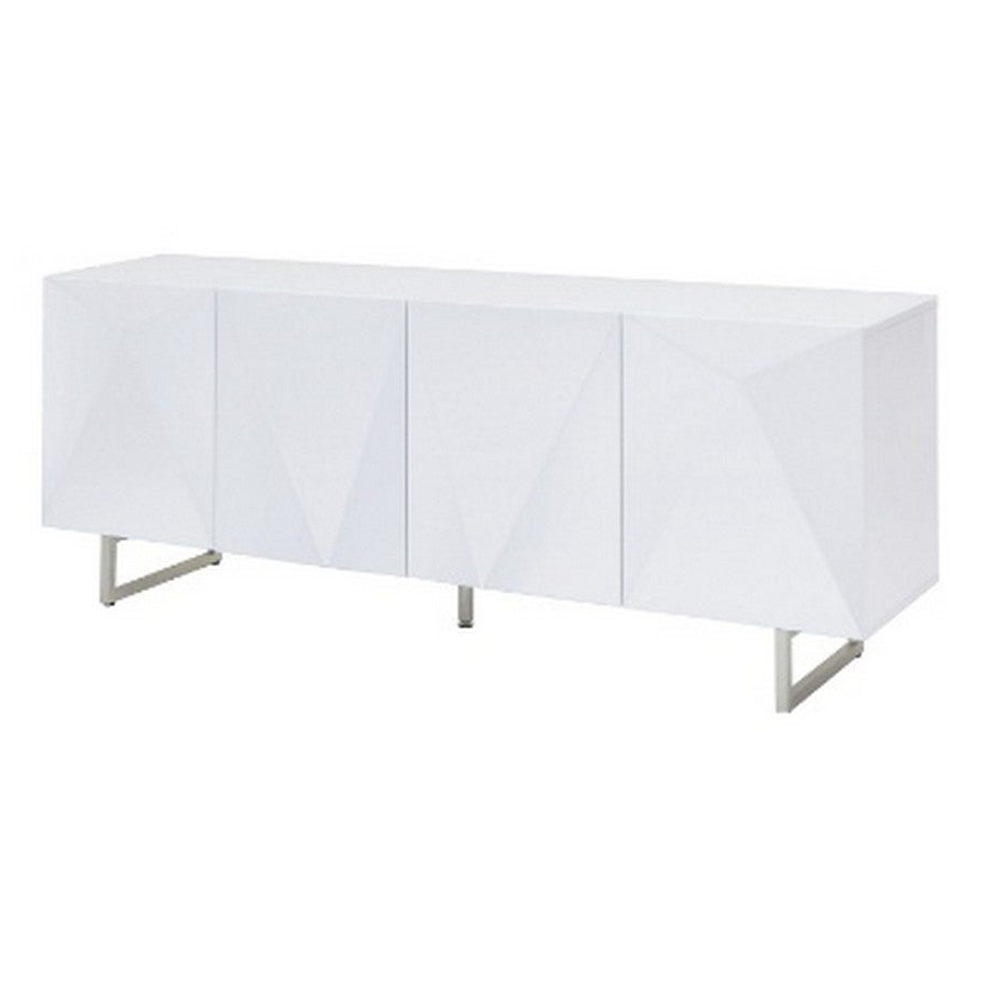 Living Room Furniture Sb1180 Wht Paul Buffet, 5mm Pure Tempered White Glass Top, High Gloss White, Design On Doors, Metal Legs With Brushed Nickel In White Wood And Chrome Metal High Gloss Buffets (View 8 of 20)