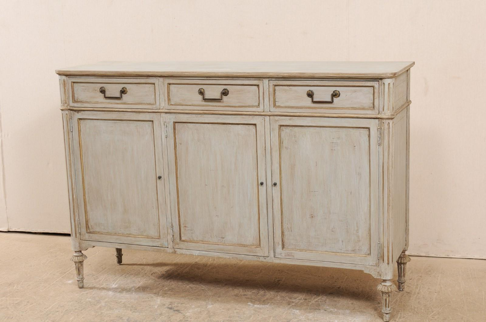 Lovely French Painted Wood Buffet Cabinet From The Mid 20Th Century With Regard To Mid Century 3 Cabinet Buffets (View 11 of 20)