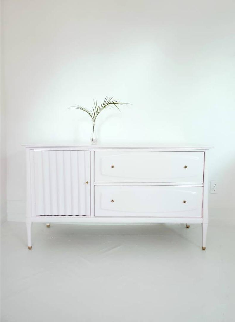 Lovely Mid Century Credenza, Media Console, Blush, Millenial Pink, Ballerina Pink Paint, Sideboard,baby Changer, Painted Furniture Nj Nyc For Blush Deco Credenzas (View 13 of 20)