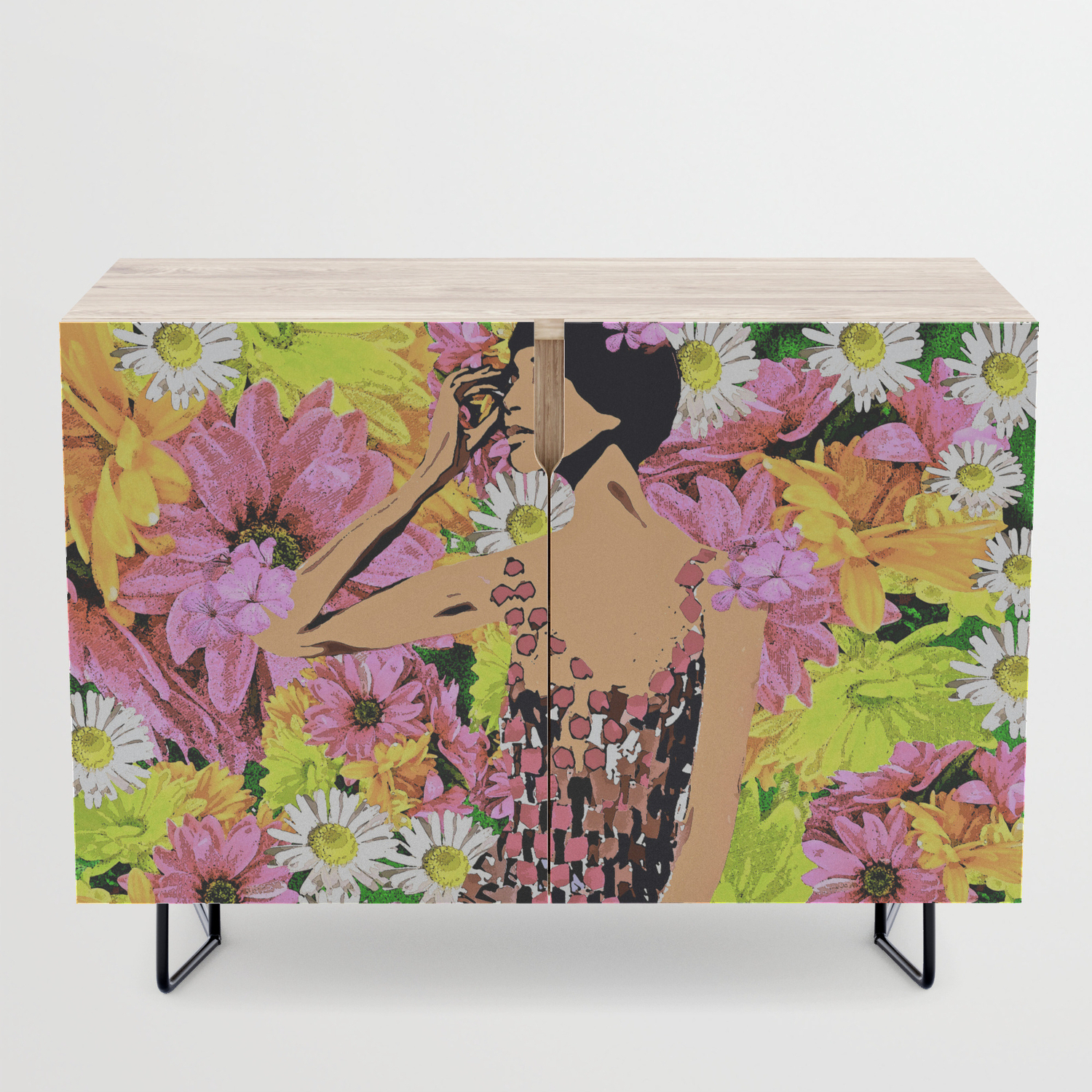 Luna Spring Time Beauty Woman Flower Child Credenza Intended For Floral Beauty Credenzas (View 18 of 20)