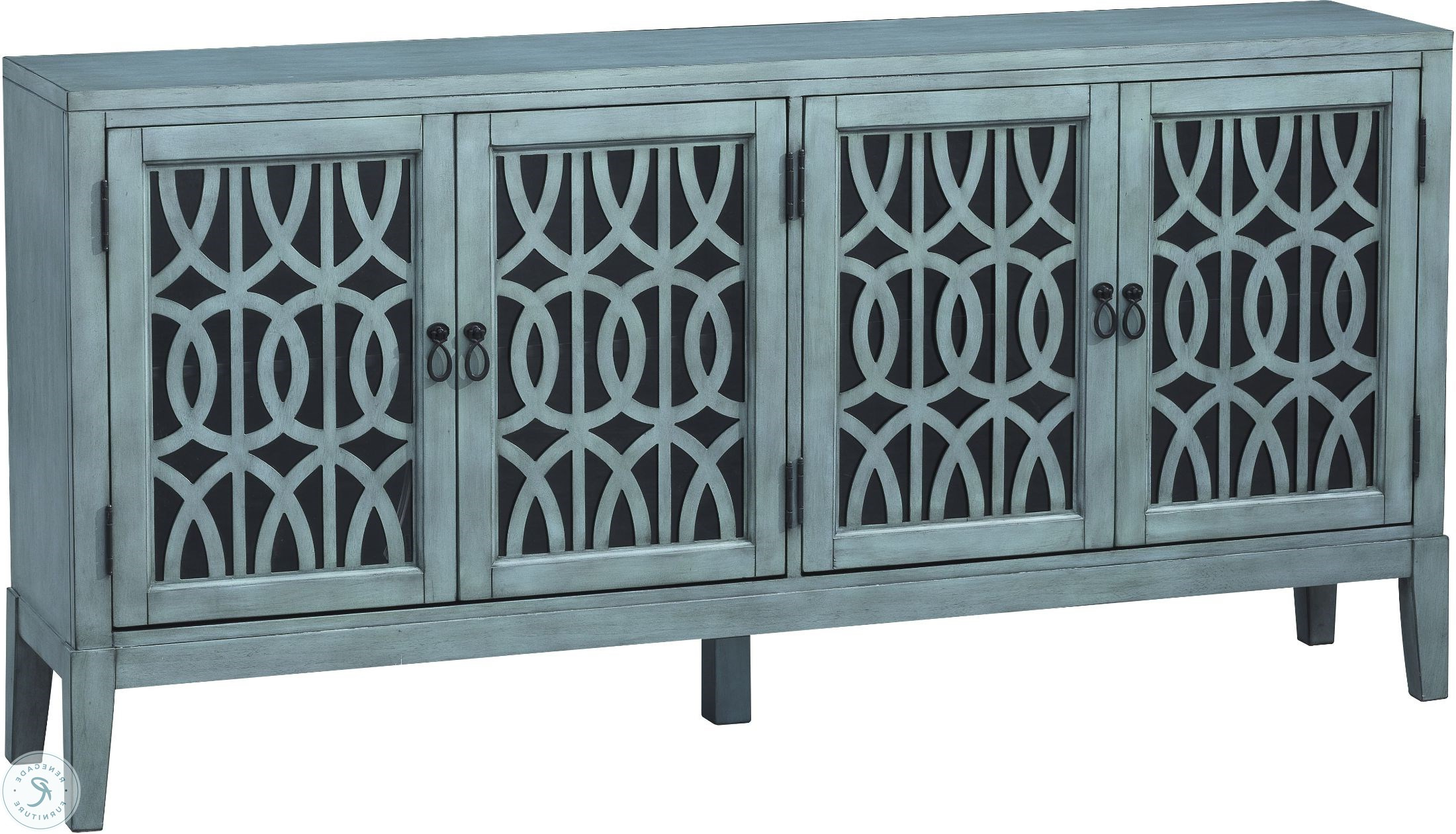 Mabry Mill Burnished Blue 4 Door Media Credenza Within Symmetric Blue Swirl Credenzas (View 13 of 20)