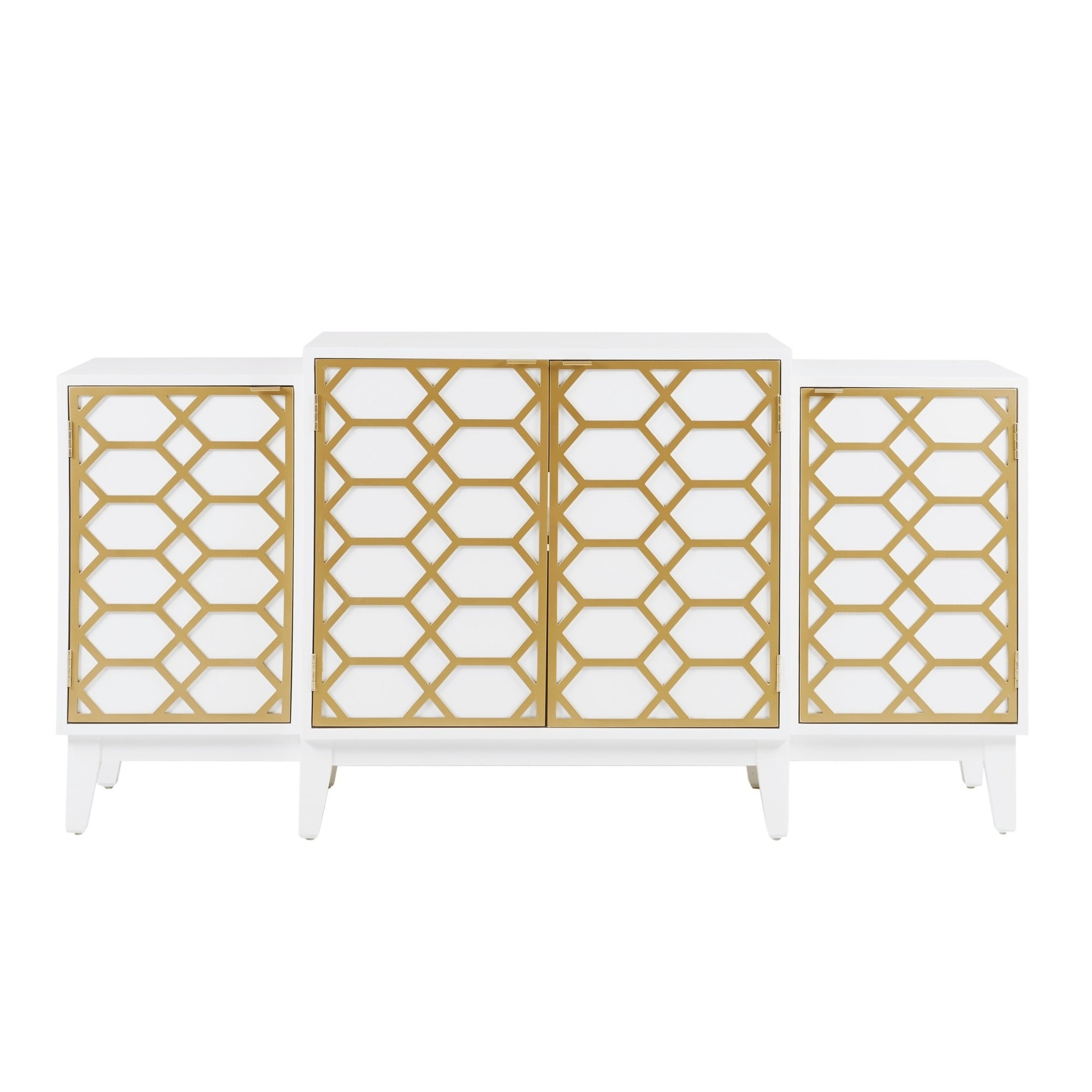 "Madison Park Gabrielle Gold/ White Dining Buffet Server Gold Lattice Design Kitchen Storage Cabinet – 68""w X 17""d X (View 9 of 20)"