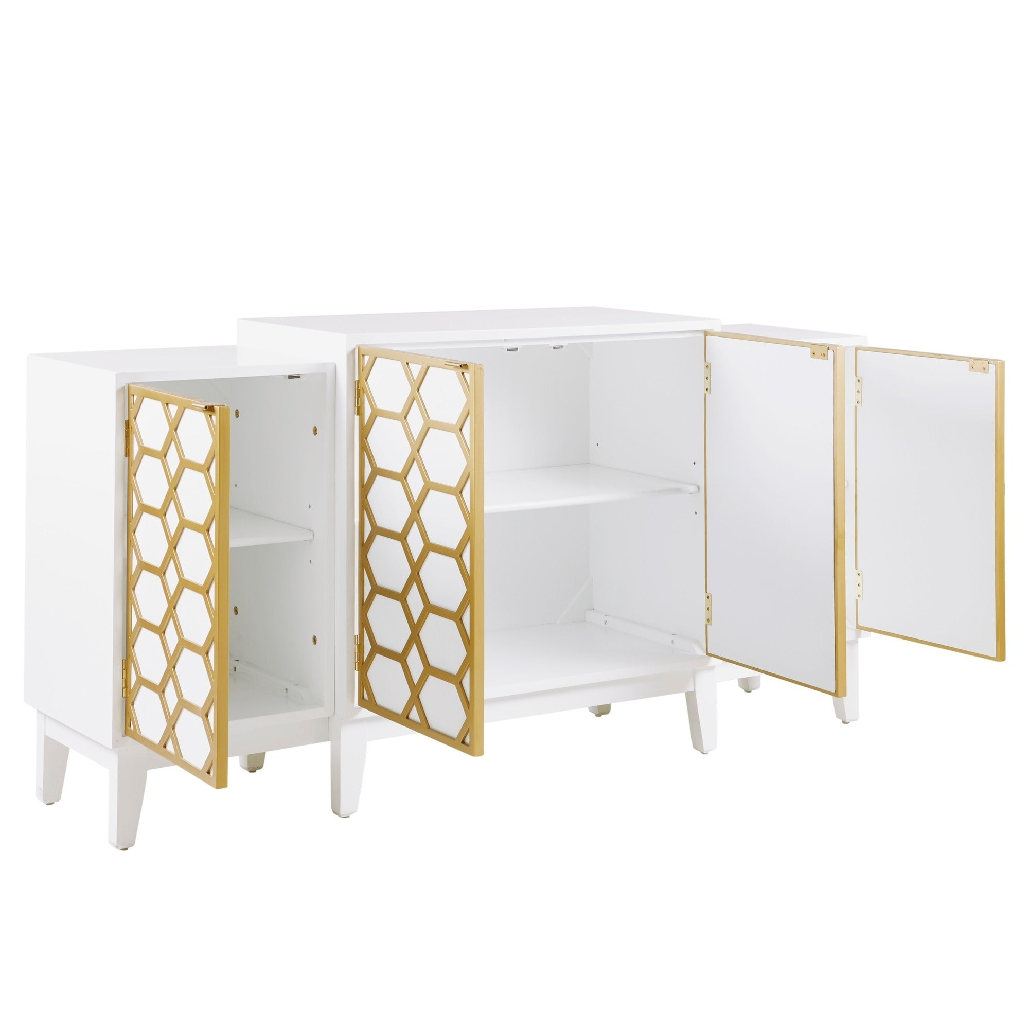 "Madison Park Gabrielle Gold/ White Dining Buffet Server Gold Lattice Design Kitchen Storage Cabinet – 68""w X 17""d X (View 7 of 20)"