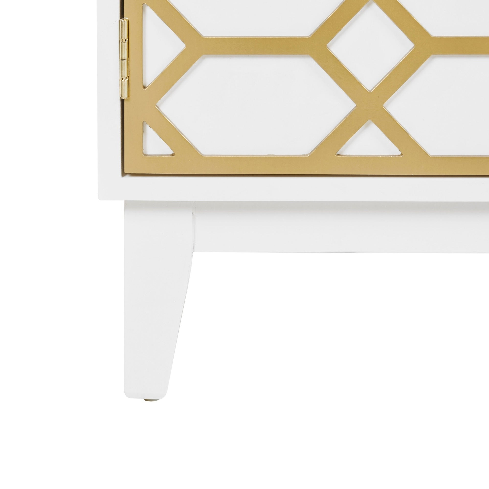 "Madison Park Gabrielle Gold/ White Dining Buffet Server Gold Lattice Design Kitchen Storage Cabinet – 68""w X 17""d X (View 10 of 20)"