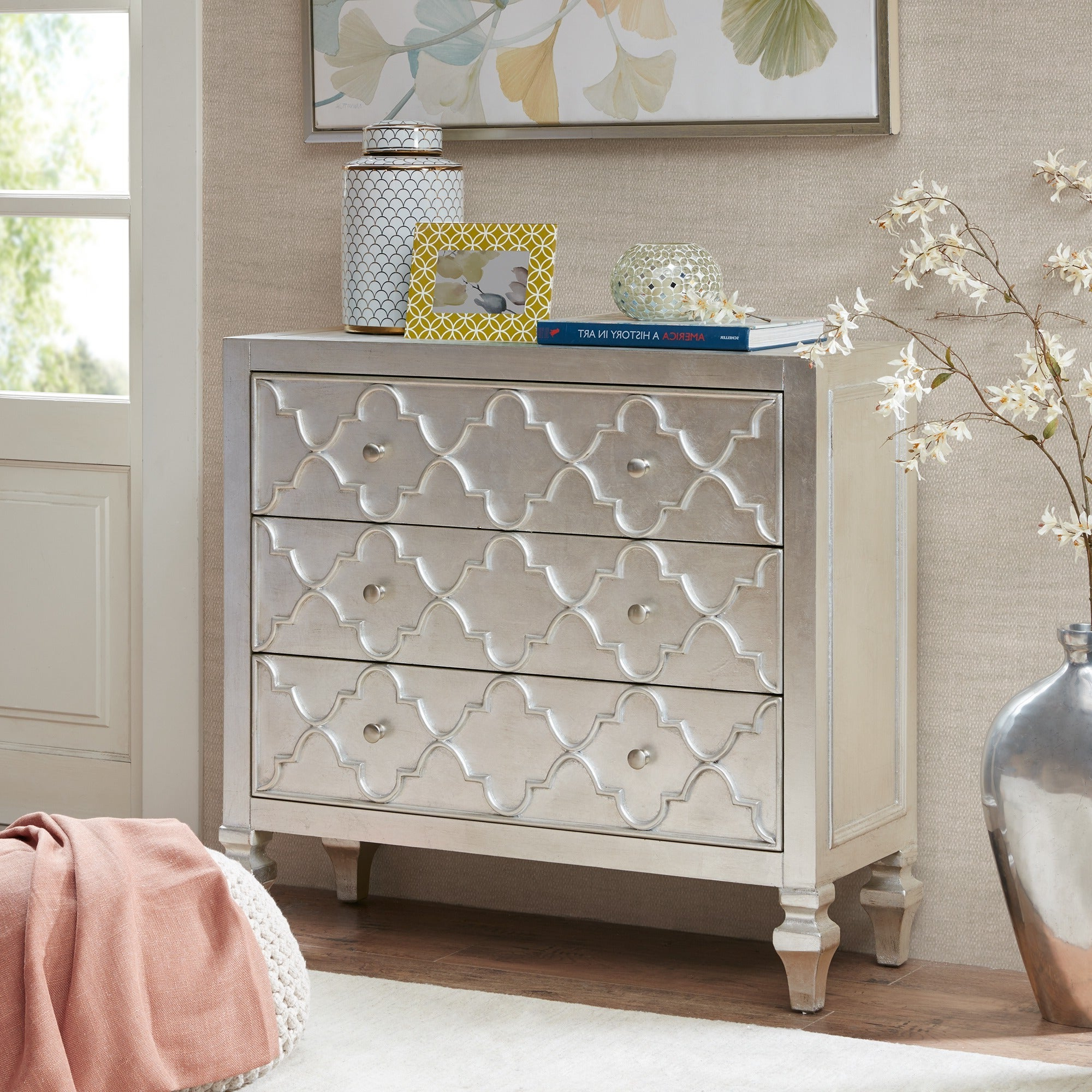 Madison Park Greyson Antique Silver 3 Drawer Chest In 3 Drawer Titanium Buffets (View 8 of 20)