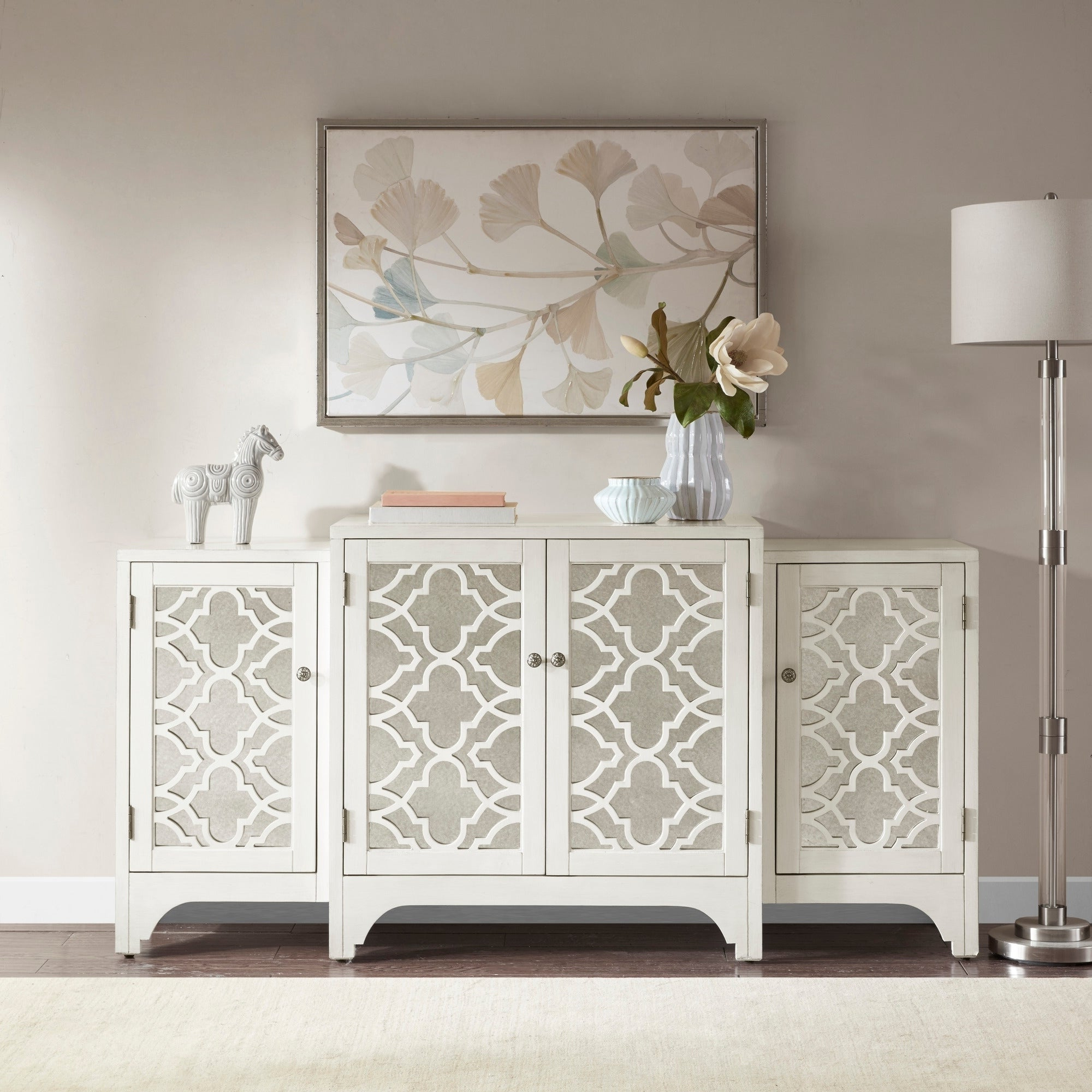 Madison Park Nevaeh Cream Dining Buffet Server Quatrefoil Design With Mirrored Doors For 3 Piece Mirrored Buffets (View 14 of 20)
