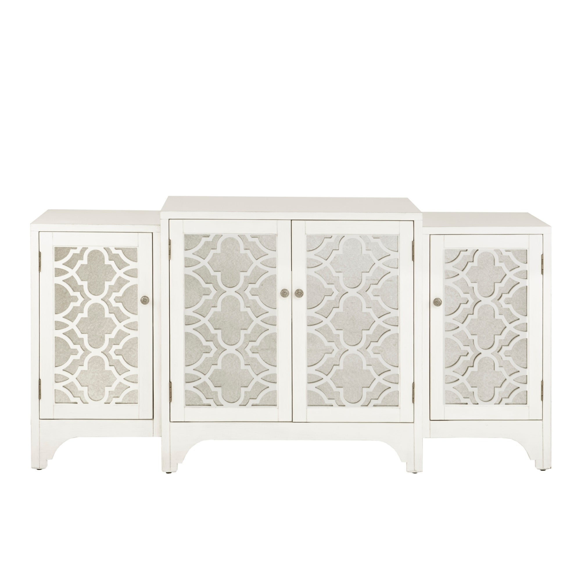 Madison Park Nevaeh Cream Dining Buffet Server Quatrefoil Design With Mirrored Doors Throughout 3 Piece Mirrored Buffets (View 17 of 20)