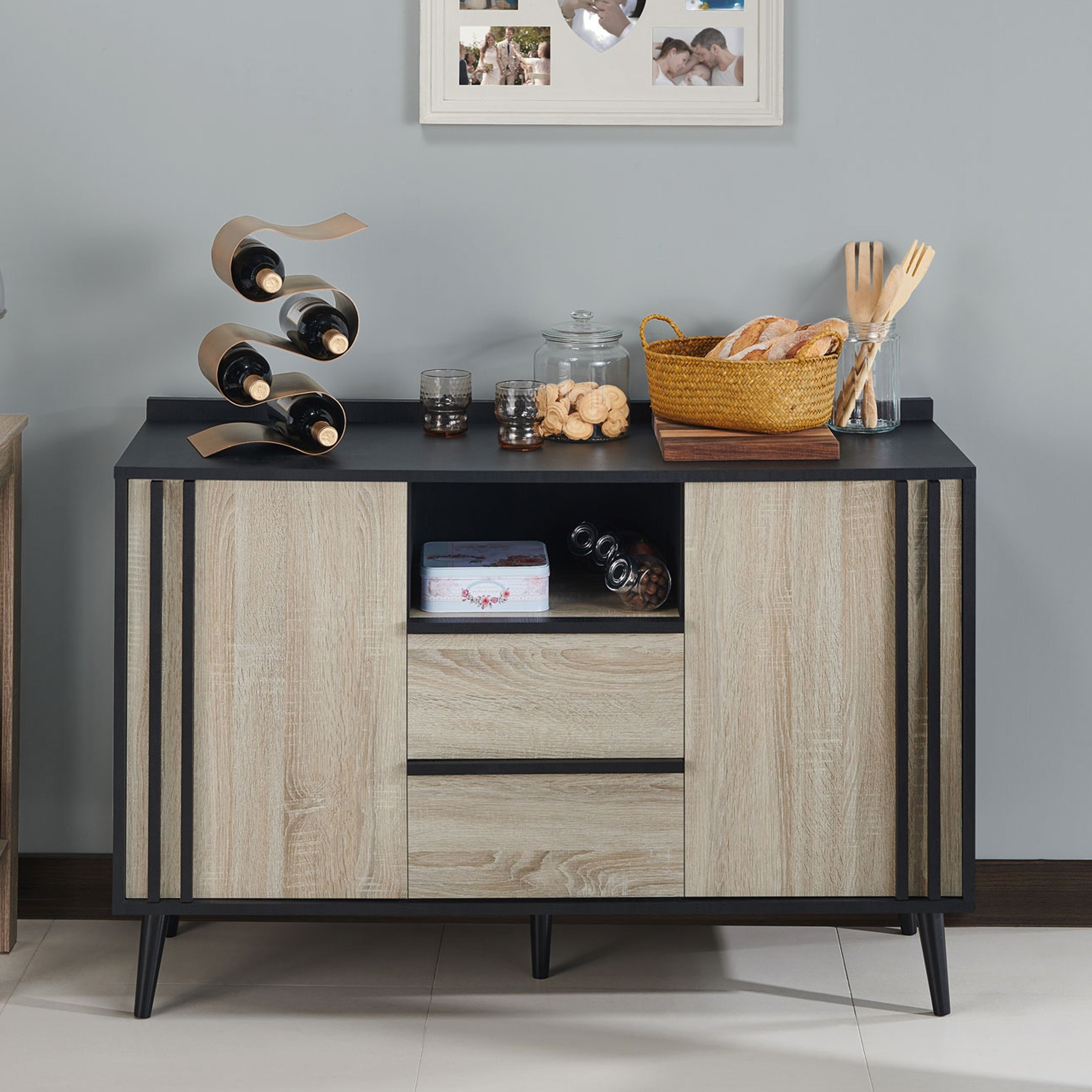Featured Photo of Light White Oak Two Tone Modern Buffets