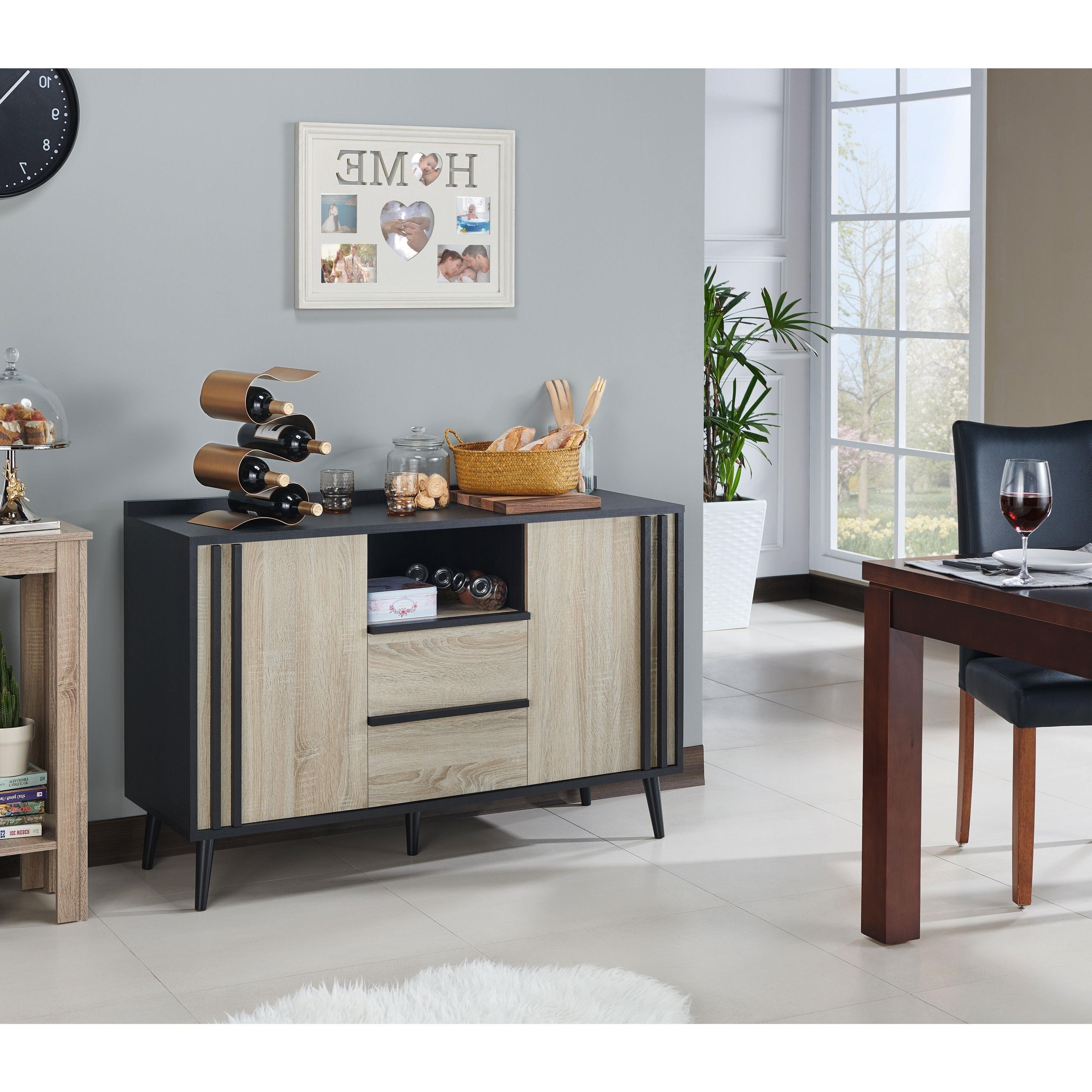 Mandal Mid Century Modern White Oak Buffet Serverfoa Regarding Light White Oak Two Tone Modern Buffets (View 12 of 20)
