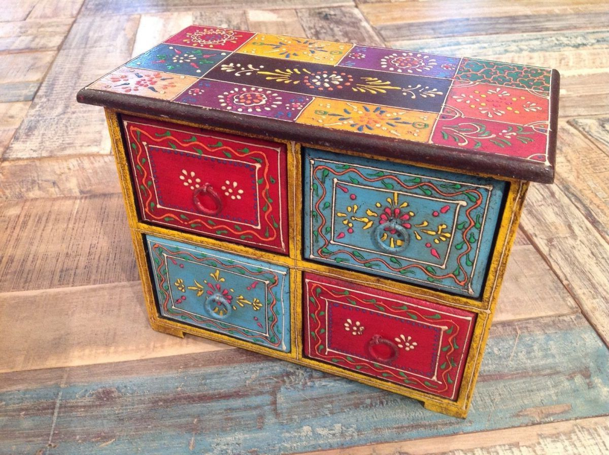 Mango Wood Painted Chest – Yellow Turquoise Red With 4 With Mandala Tile Marine Credenzas (View 14 of 20)