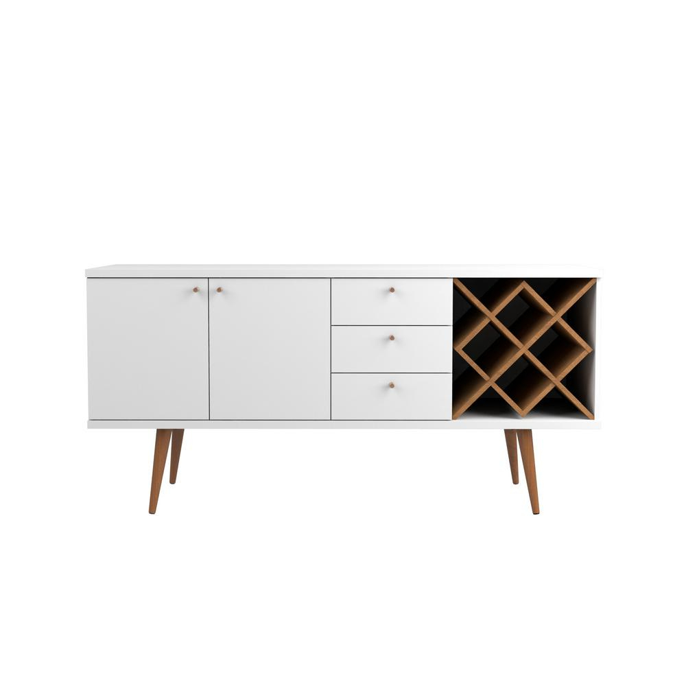 Manhattan Comfort Utopia 4 Bottle White Gloss And Maple In Contemporary Wooden Buffets With One Side Door Storage Cabinets And Two Drawers (View 9 of 20)