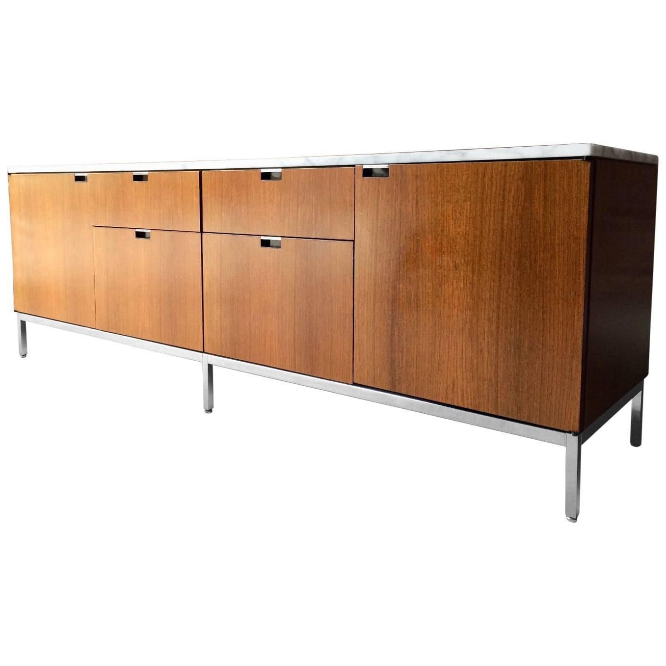 Marble Topped Light Walnut Credenza Or Sideboardflorence Intended For Line Geo Credenzas (View 13 of 20)
