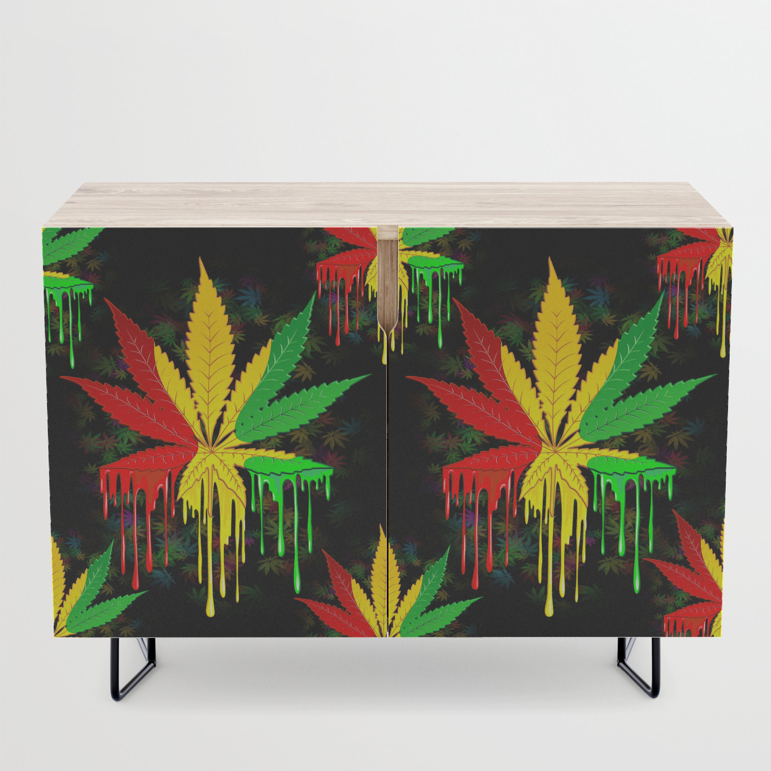 Marijuana Leaf Rasta Colors Dripping Paint Credenza Inside Colorful Leaves Credenzas (View 16 of 20)
