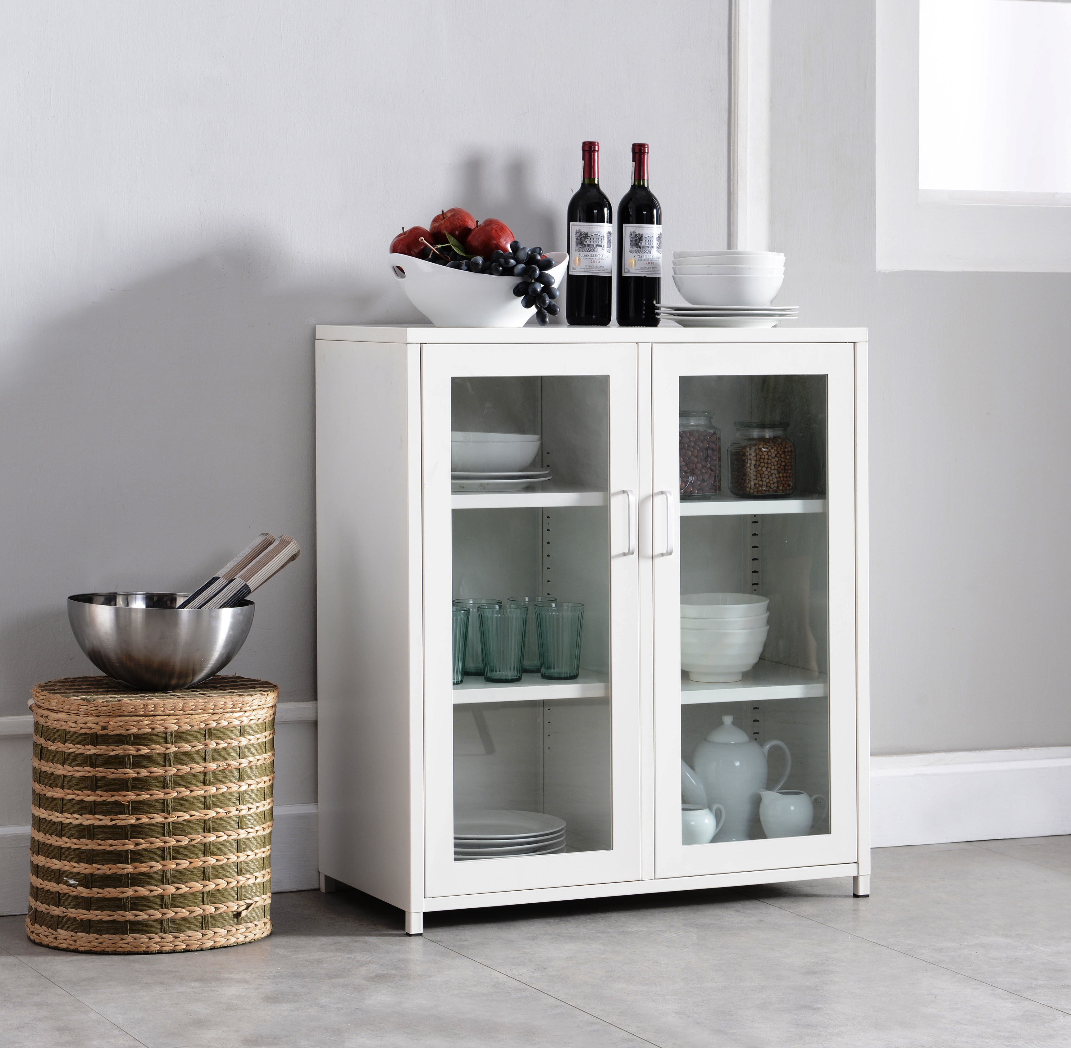 Markle White Iron Transitional Kitchen Storage Accent Cabinet Buffet With 2 Glass Doors & Shelves For Buffets With Bottle And Glass Storage (View 7 of 20)