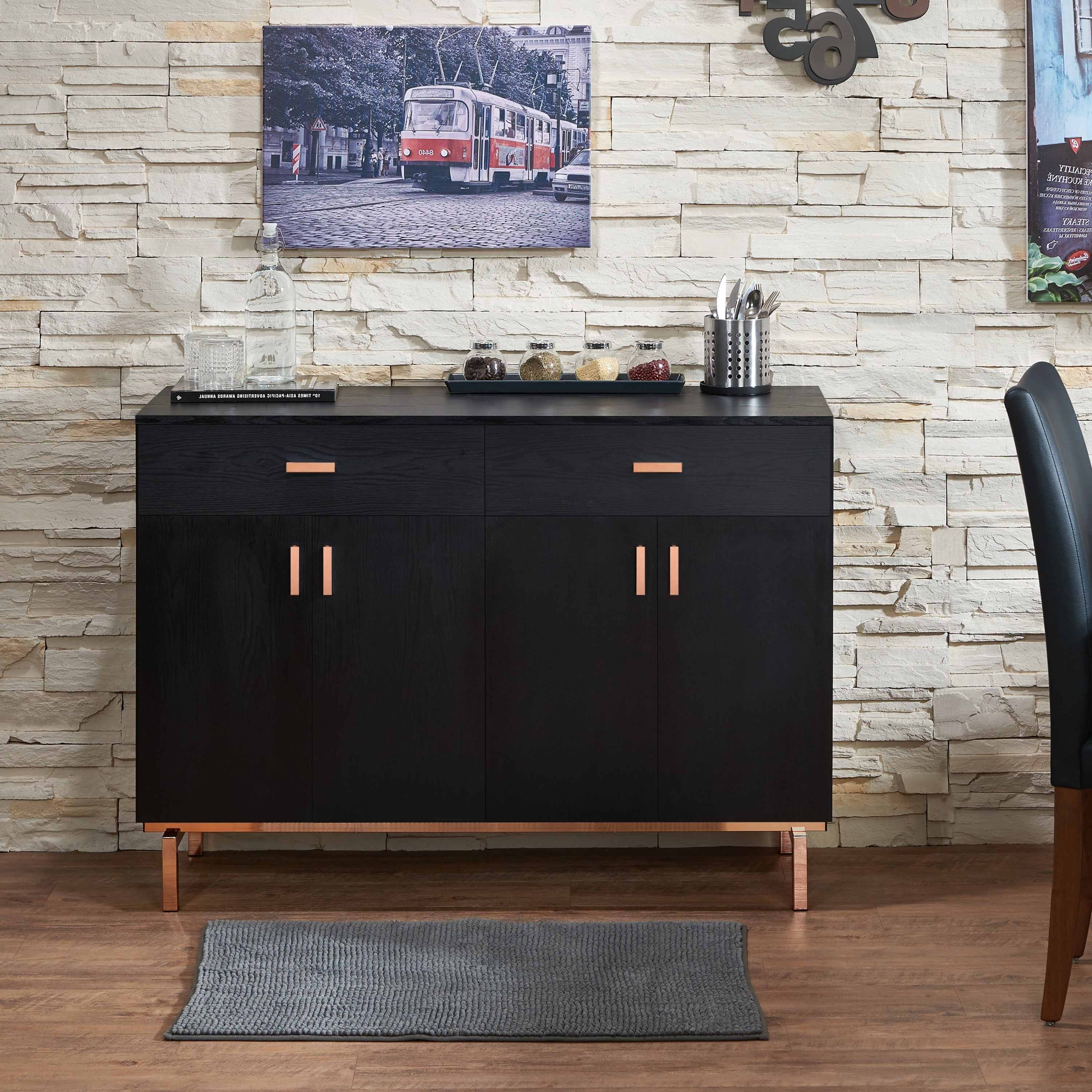 Mason Contemporary Black Buffetfoa In Contemporary Wooden Buffets With One Side Door Storage Cabinets And Two Drawers (View 10 of 20)