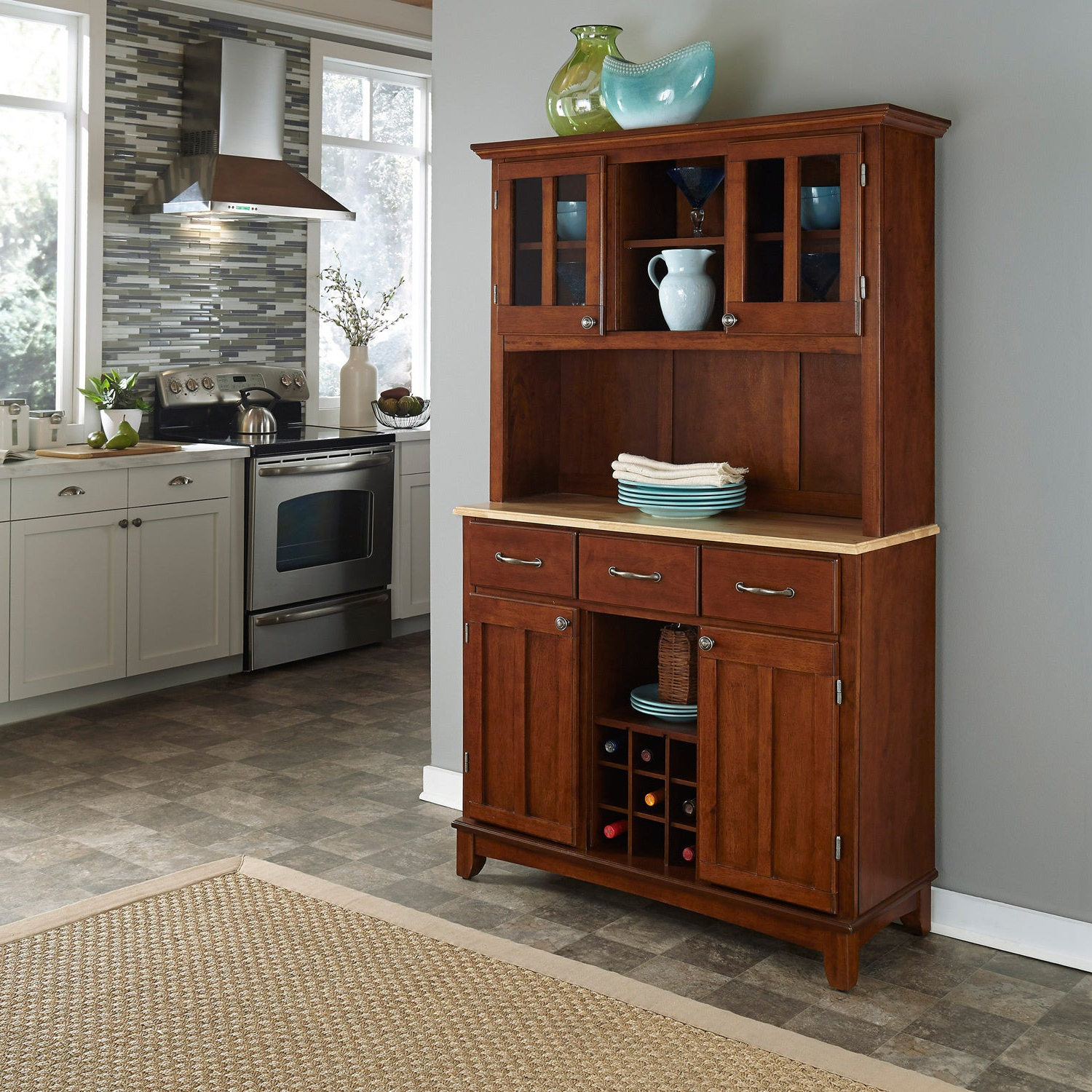 Medium Cherry Hardwood Hutch Buffet With Wood Tophome Styles In Medium Cherry Buffets With Wood Top (View 17 of 20)