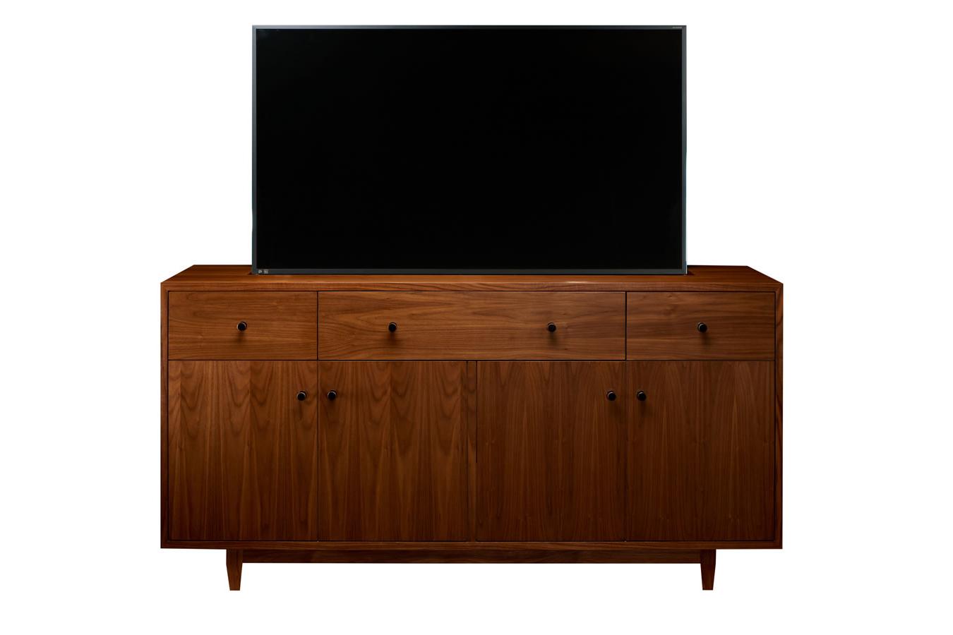 Mid Century Buffett Custom Made Tv Lift Cabinet  Cabinet Throughout Mid Century 3 Cabinet Buffets (View 15 of 20)