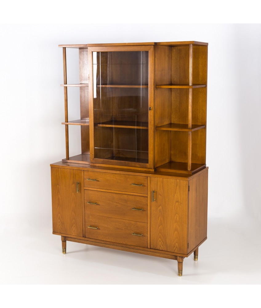 Mid Century Drexel China Cabinet Buffet And Hutch With Regard To Mid Century 3 Cabinet Buffets (View 14 of 20)