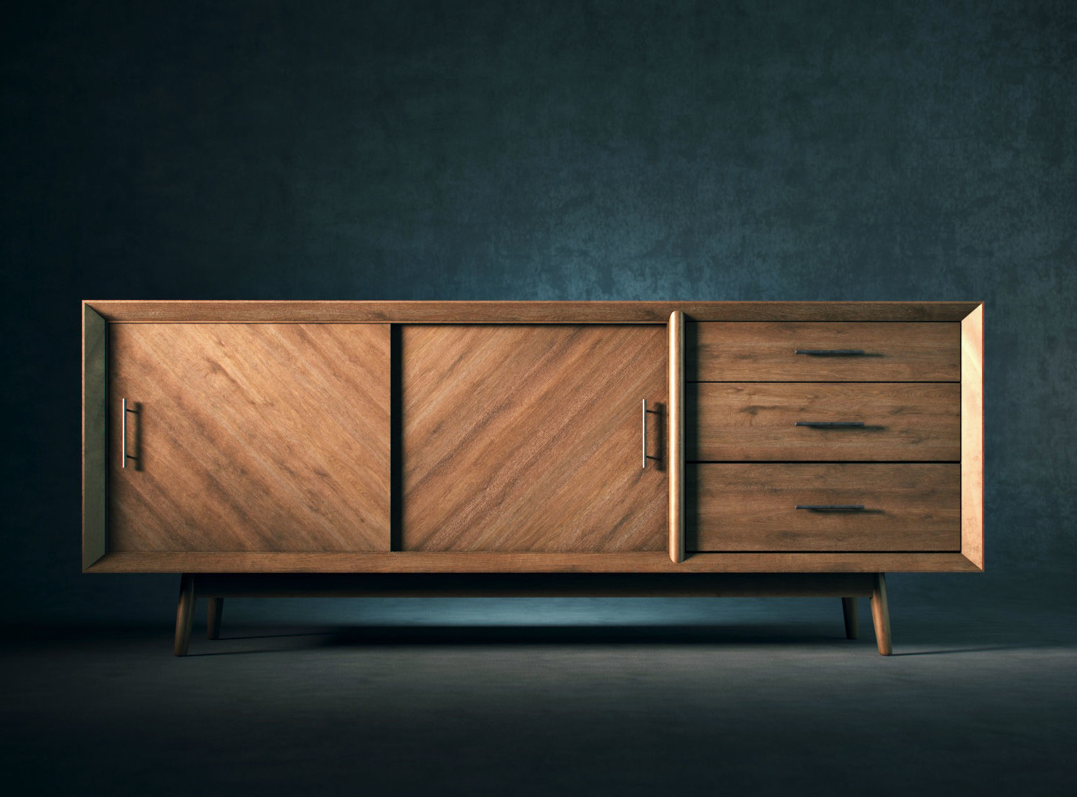 Mid Century Modern Buffet Console | 3D Model With Modern Mid Century Buffets (View 12 of 20)