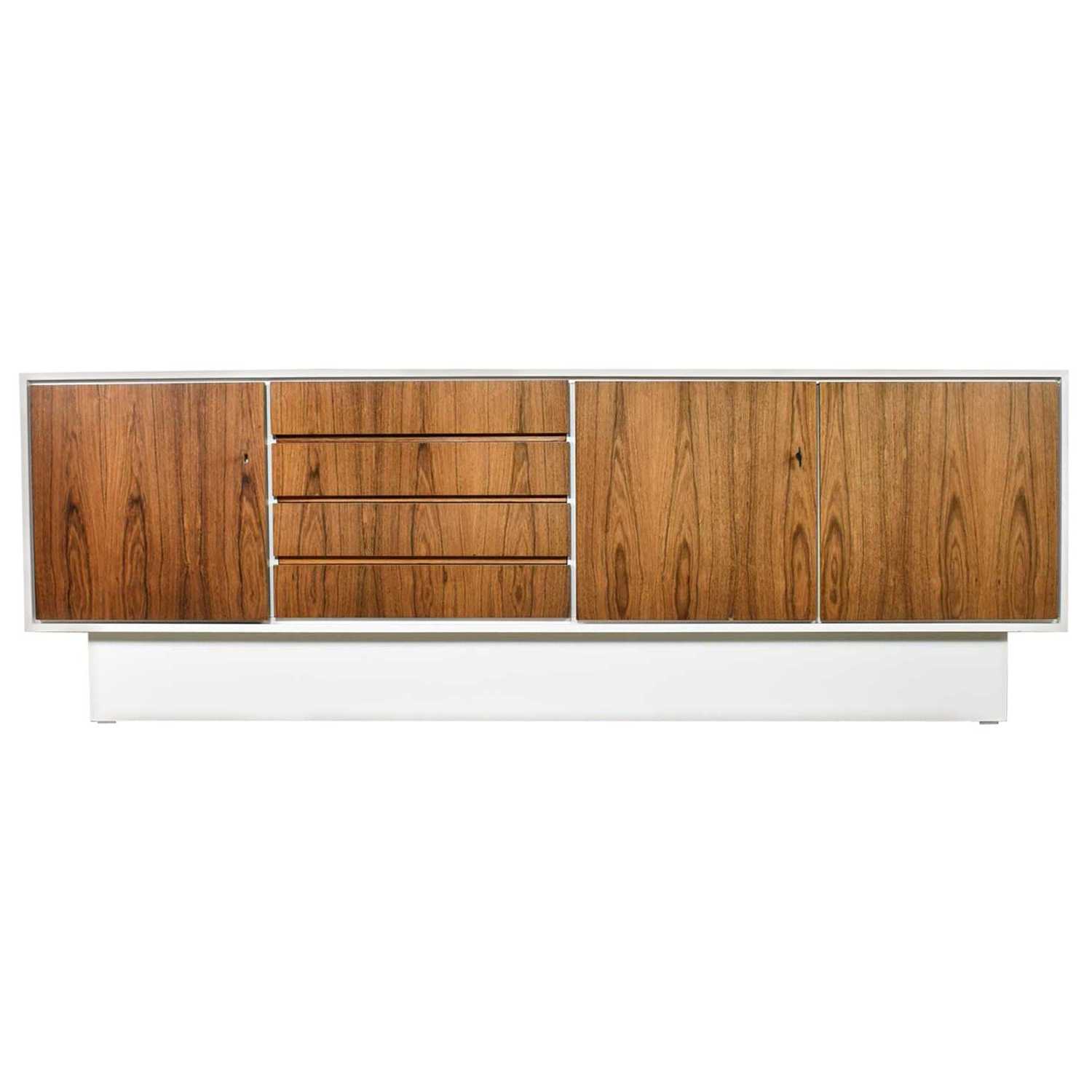 Mid Century Modern Scandinavian Style Credenza Buffet Two Toned With White Case Pertaining To Mid Century Modern Scandinavian Style Buffets (View 15 of 20)