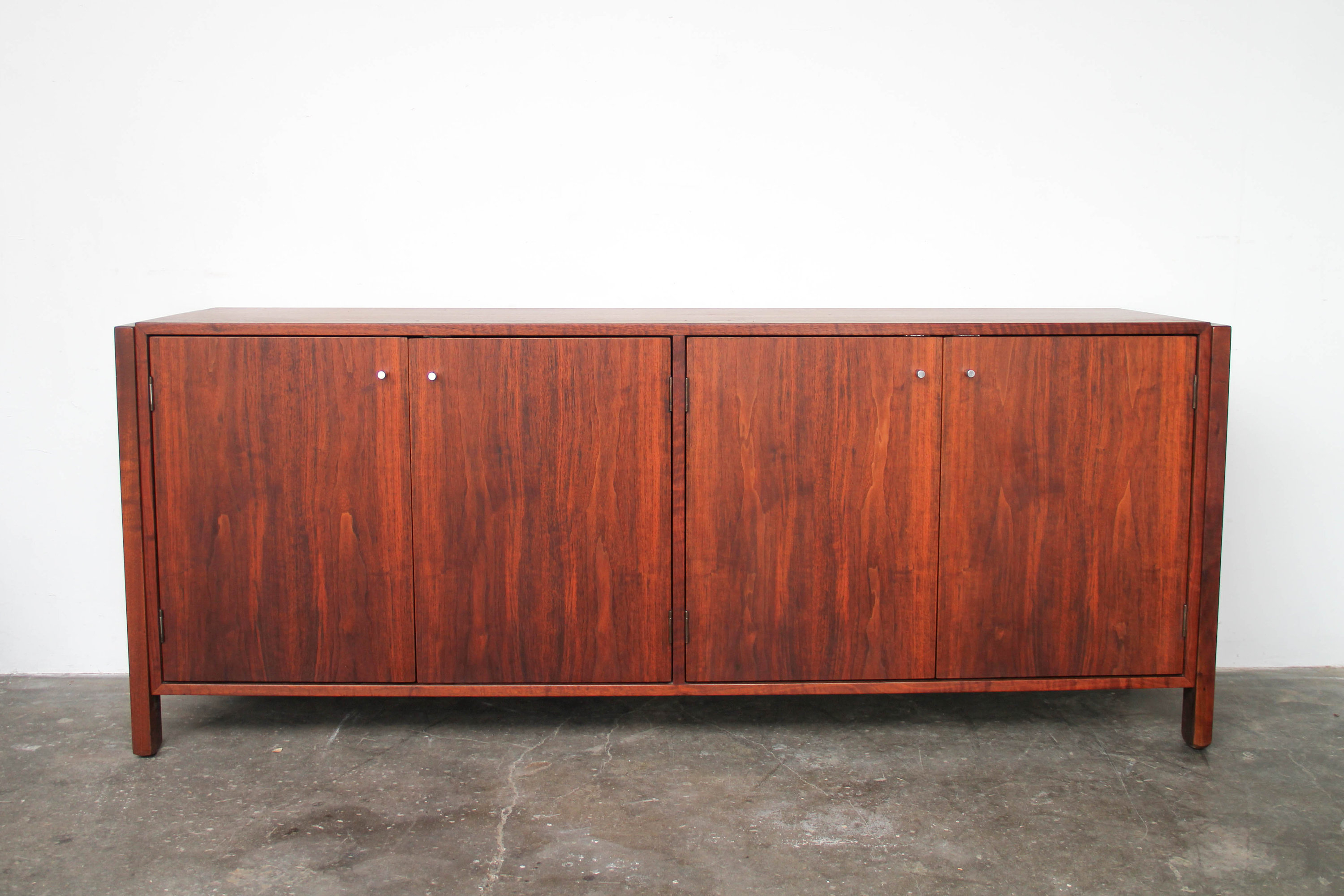 Mid Century Modern Walnut Wood Credenza With Chrome Pulls Vintage In Southwest Pink Credenzas (View 15 of 20)