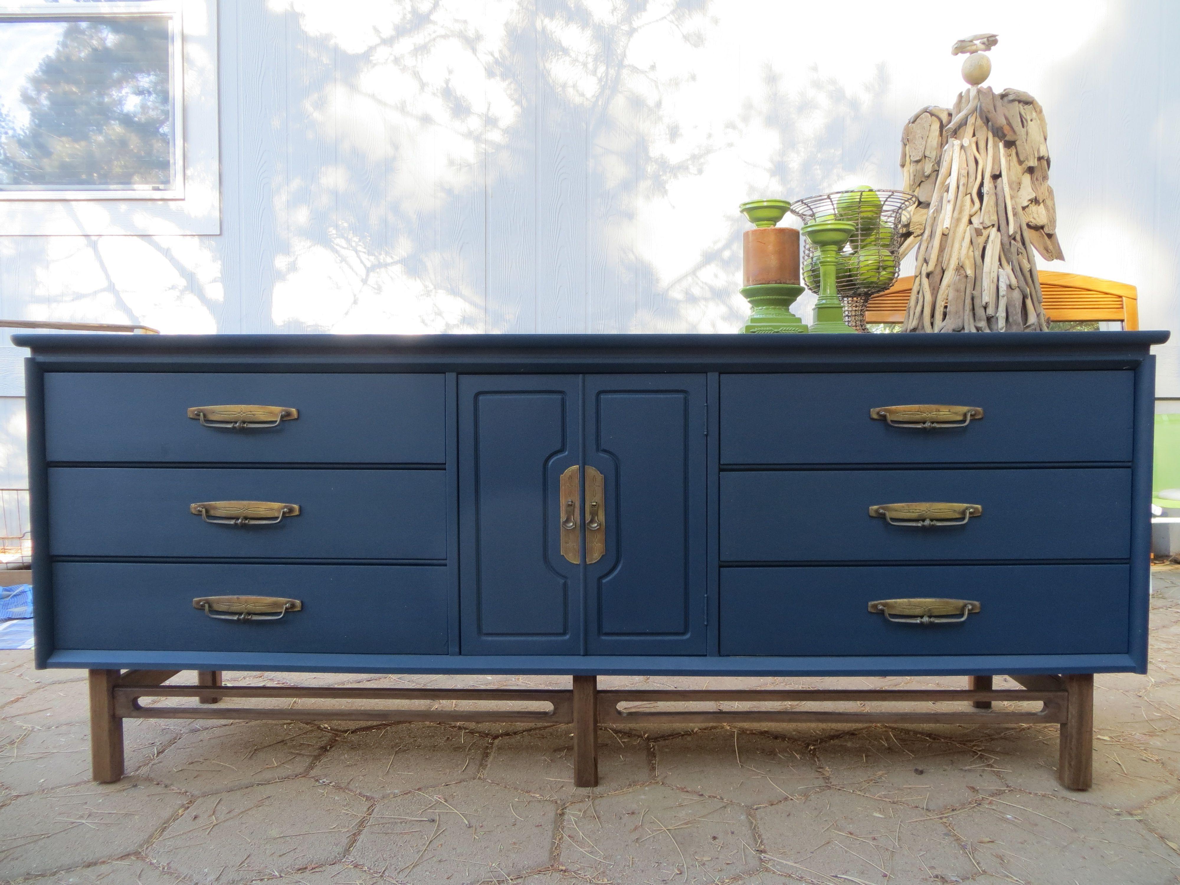 Mid Century Navy Blue Dresser. Original Hardware (View 10 of 20)