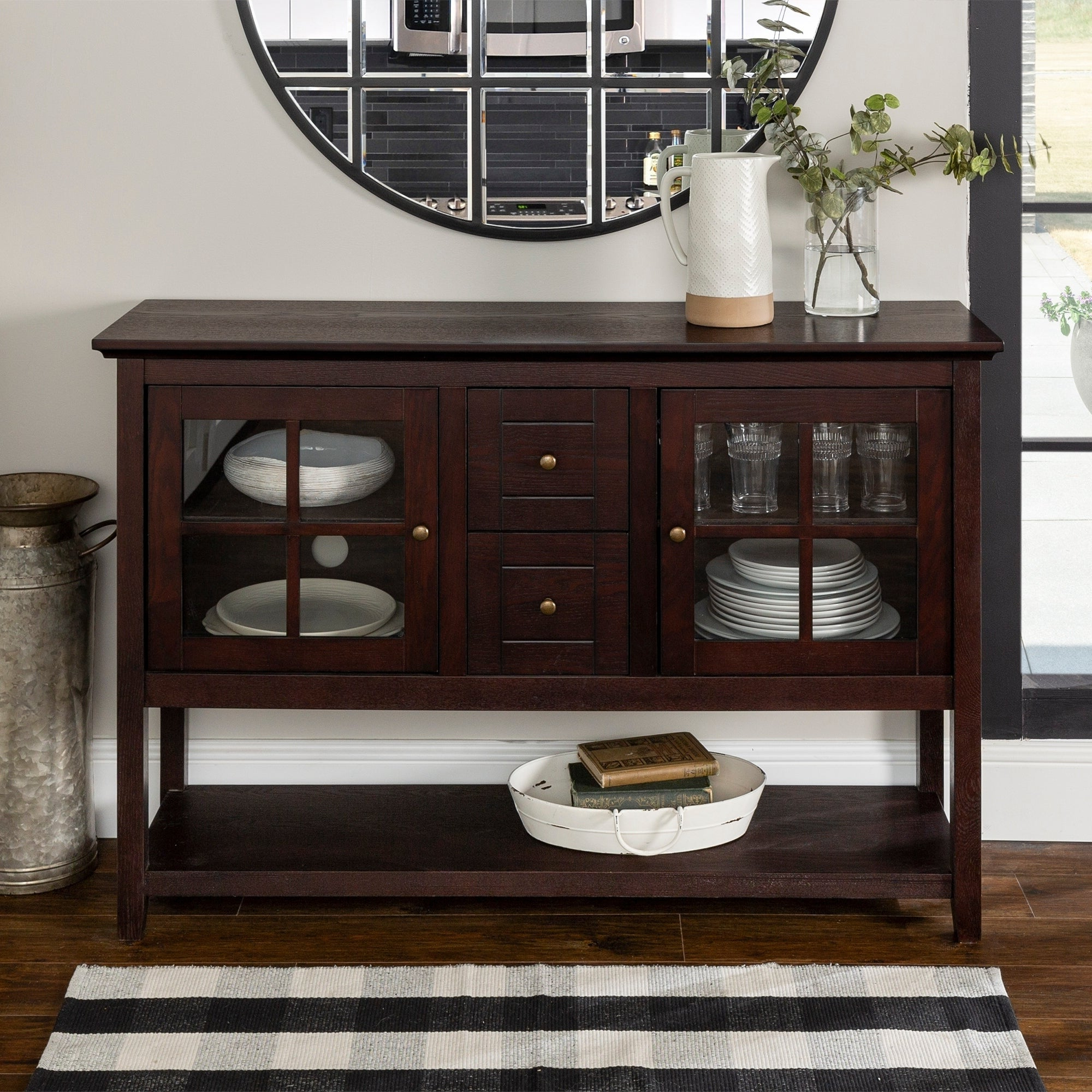 Middlebrook Designs 52 Inch Buffet Cabinet, Espresso, Tv Stand Console,  Entertainment Center – 54 X 16 X 35H Regarding Espresso Wood Multi Use Buffets (View 13 of 20)