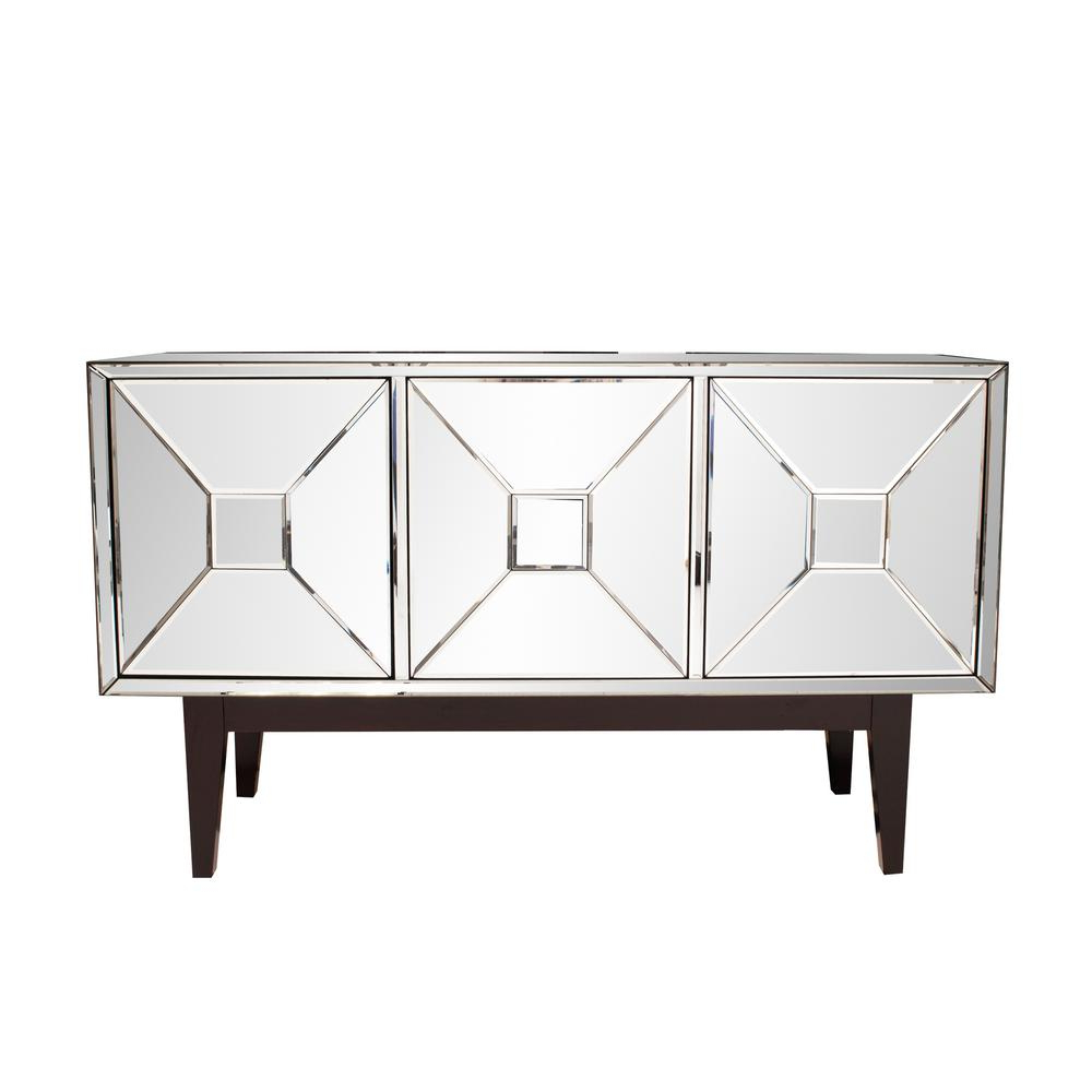 Mirrored Buffet Cabinet With Three Doors 68086 – The Home Depot In Mirrored Double Door Buffets (View 12 of 20)
