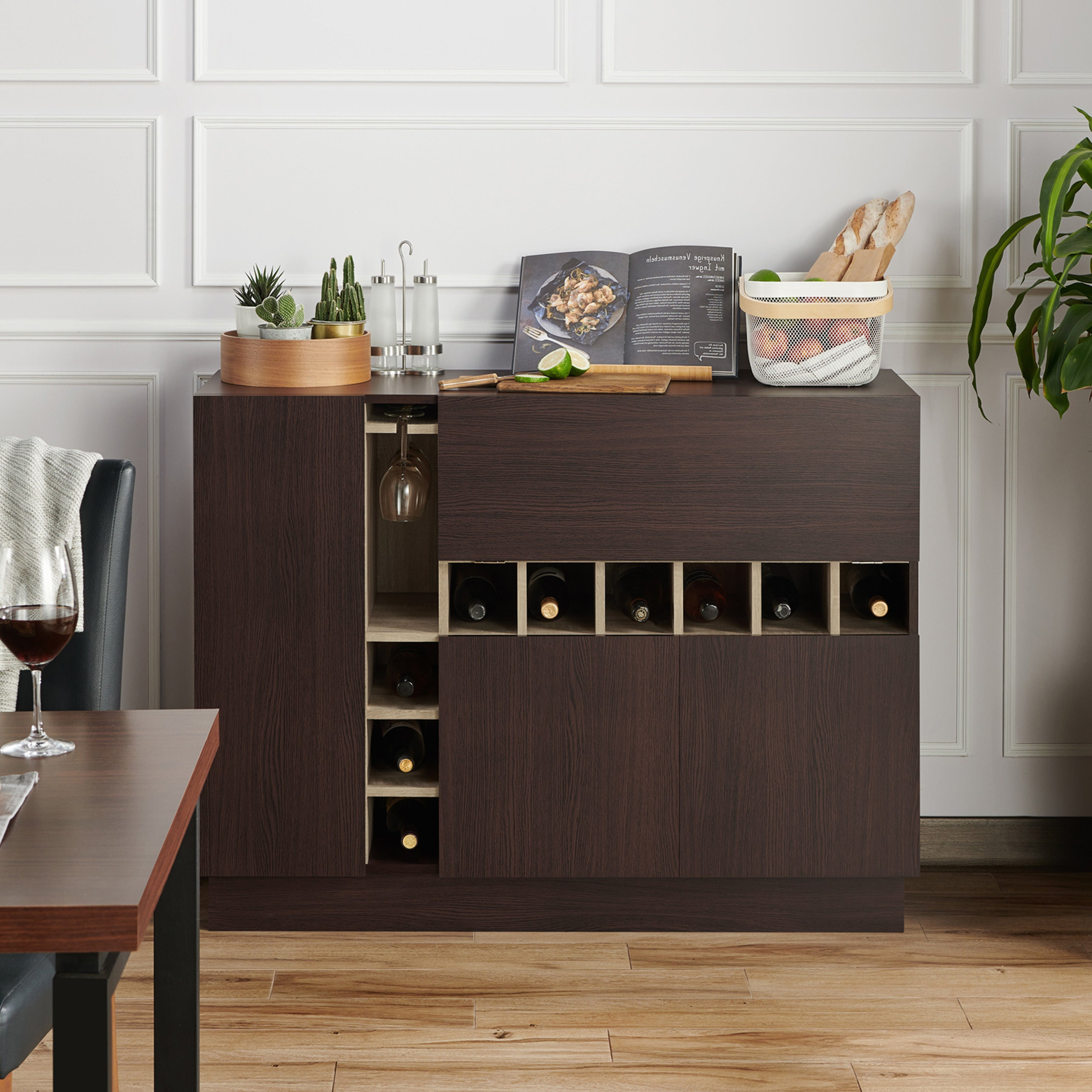 Miyoa Modern Espresso Storage Buffet Serverfoa Regarding Carrera Contemporary Black Dining Buffets (View 19 of 20)
