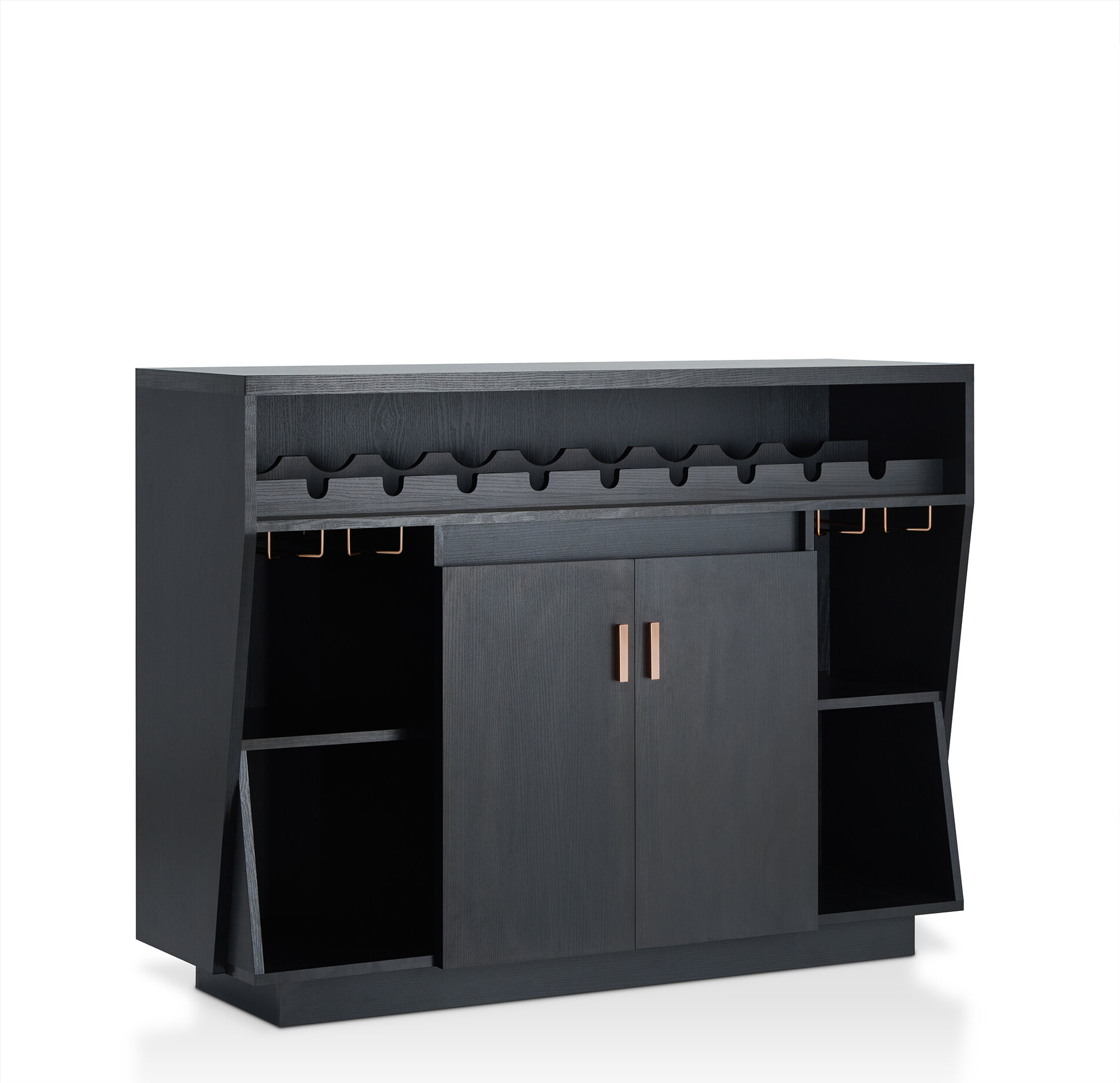 Featured Photo of Contemporary Three Tier Glass Buffets With Black Metal Frame