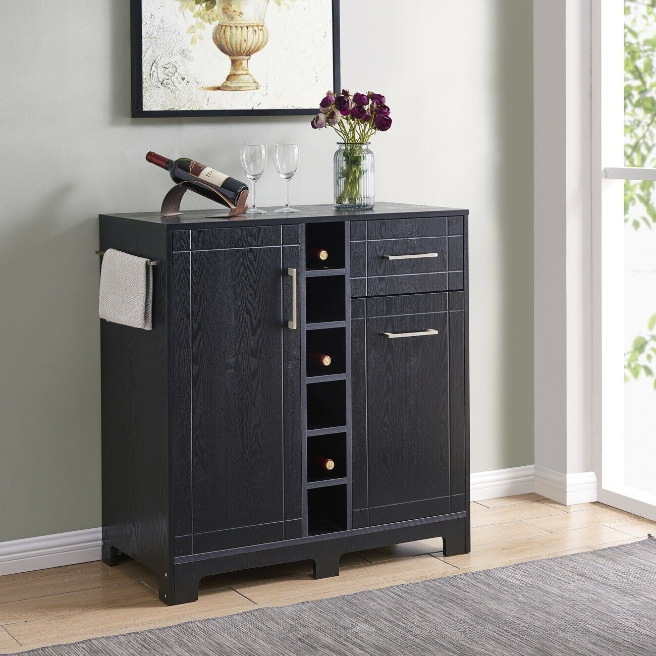 Modern Buffet Server Sideboard Bar Cabinet With Wine Storage And Racks,  Black Pertaining To Modern Black Storage Buffets (View 15 of 20)