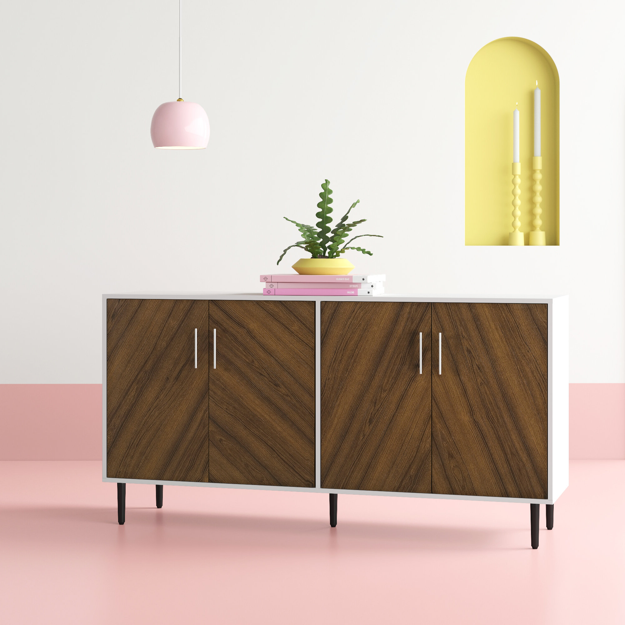 Modern Buffet | Wayfair For Contemporary Wooden Buffets With Four Open Compartments And Metal Tapered Legs (View 16 of 20)