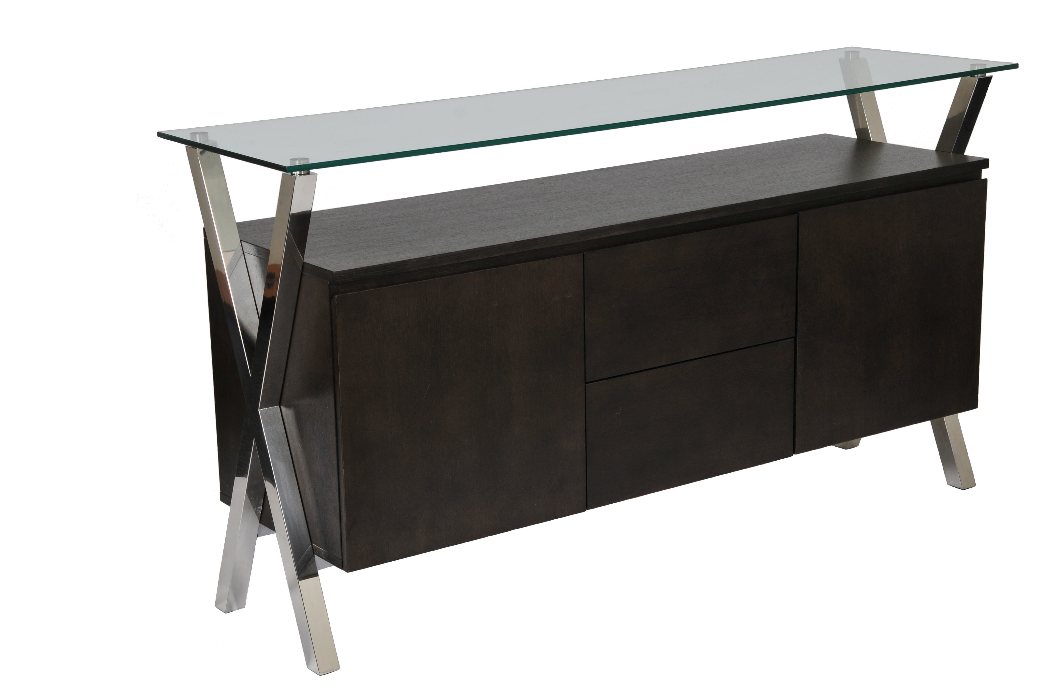 Modern & Contemporary Glass Credenza   Allmodern For Contemporary Three Tier Glass Buffets With Black Metal Frame (View 6 of 20)