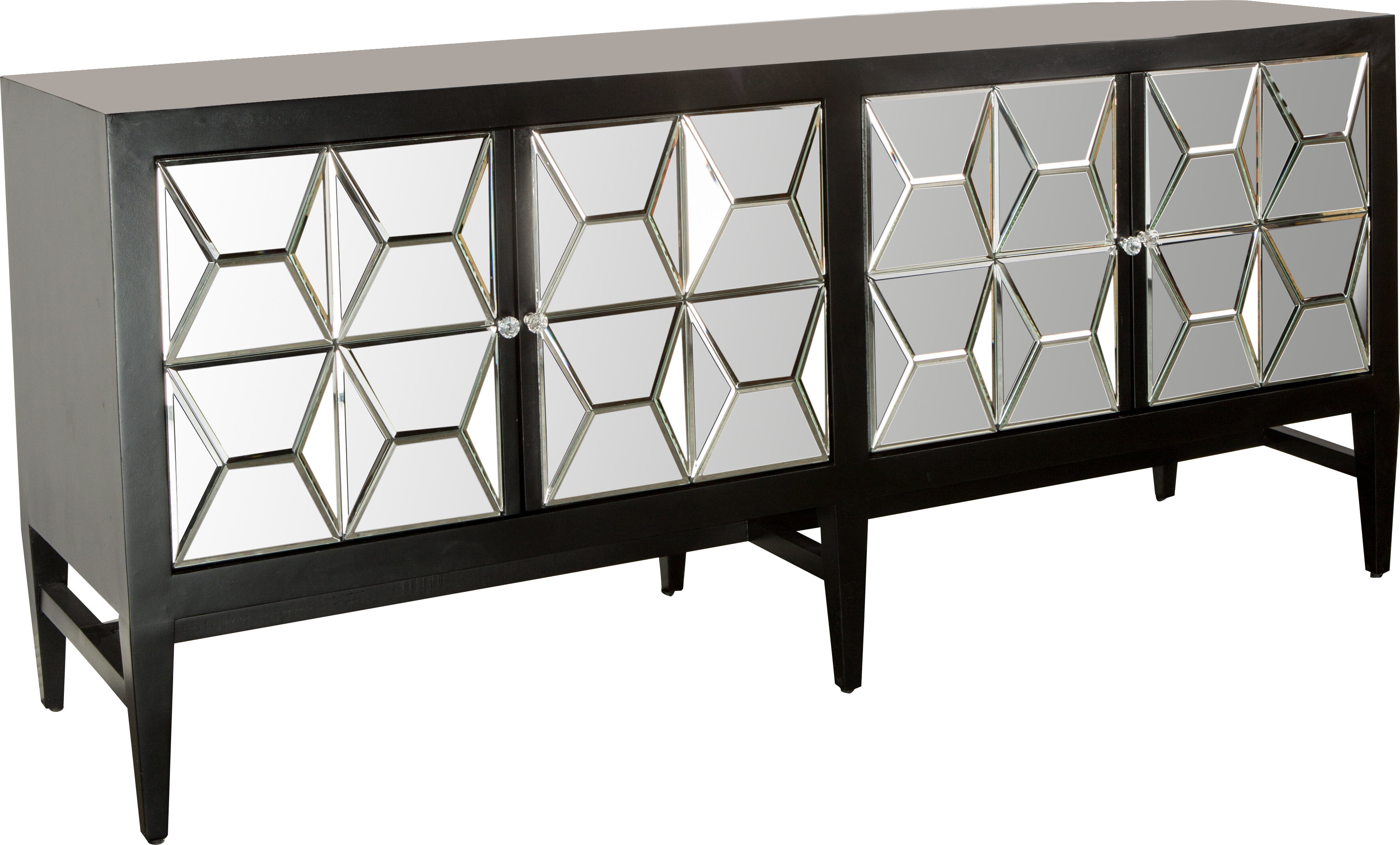 Modern & Contemporary Glass Credenza   Allmodern Throughout Contemporary Three Tier Glass Buffets With Black Metal Frame (View 7 of 20)