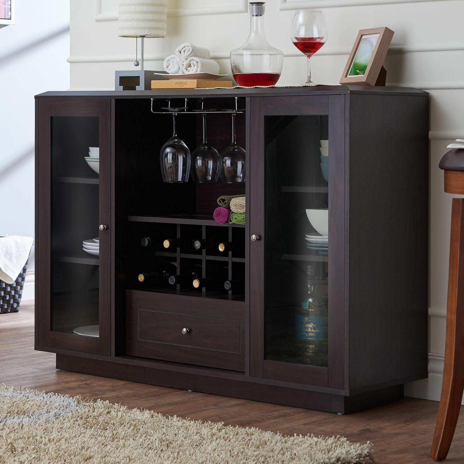 Modern Glass Doors Wine Rack Storage Buffet Dining Room Cabinet Espresso Finish Regarding Modern Espresso Storage Buffets (View 14 of 20)