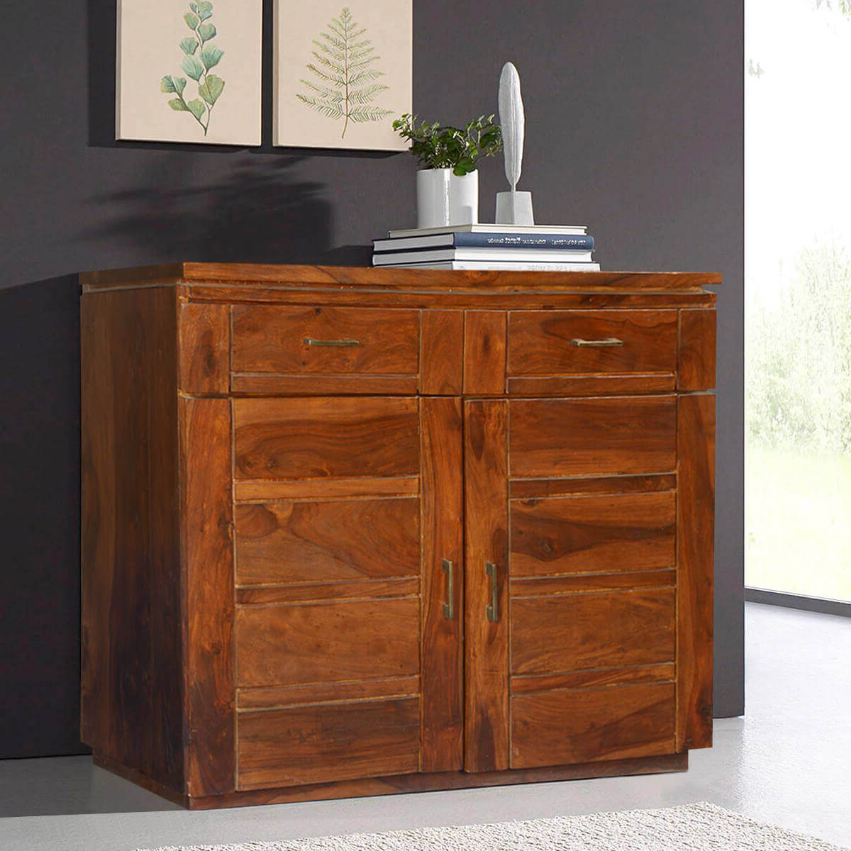 Modern Rustic Solid Wood Freestanding 2 Drawer Buffet Cabinet Within Medium Buffets With Wood Top (View 13 of 20)