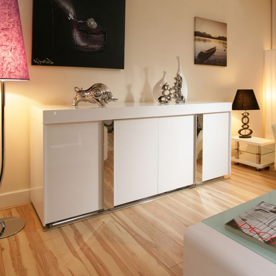 Modern Sideboard / Cabinet / Buffet In White High Gloss  (View 12 of 20)