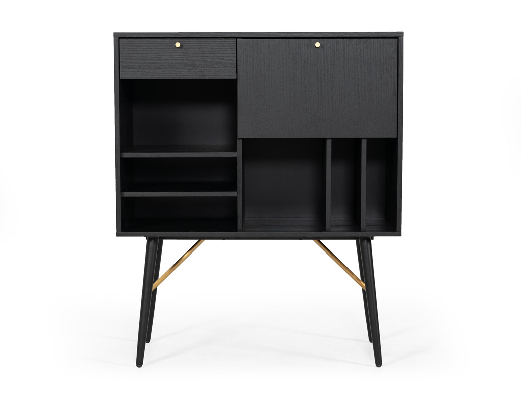 Modrest Billy Modern Black Oak & Gold Tall Buffet Within Modern Black Storage Buffets (View 17 of 20)