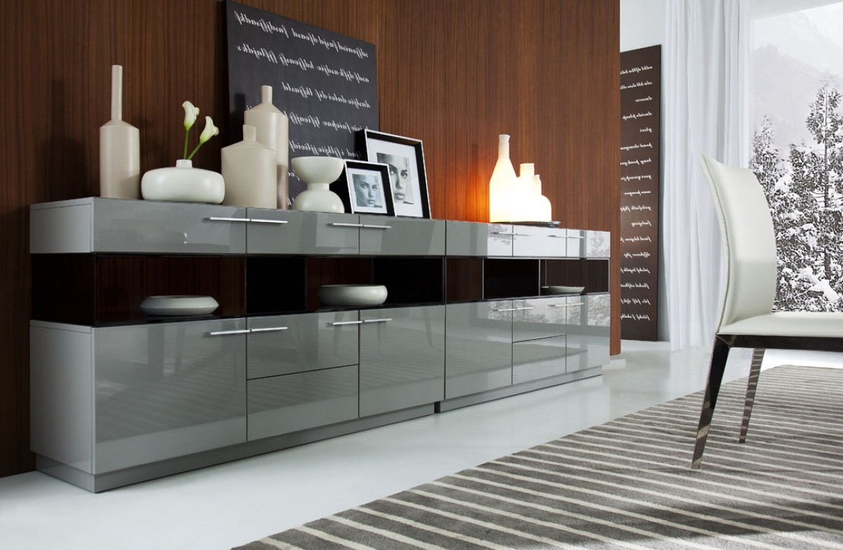 Modrest Daytona Modern Grey High Gloss Buffet Intended For Contemporary Buffets (View 14 of 20)