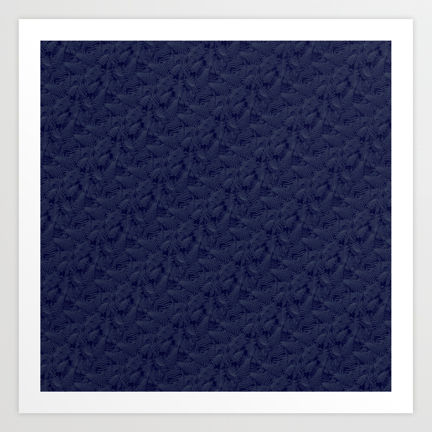 Muted '90S Fern Background Grid At Dusk – Deep Blue Art Print Throughout Deep Blue Fern Credenzas (View 12 of 20)