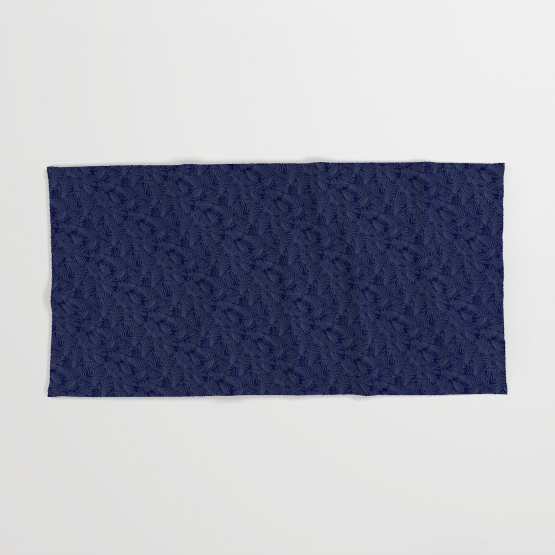 Muted '90S Fern Background Grid At Dusk – Deep Blue Hand & Bath Towel Regarding Deep Blue Fern Credenzas (View 14 of 20)