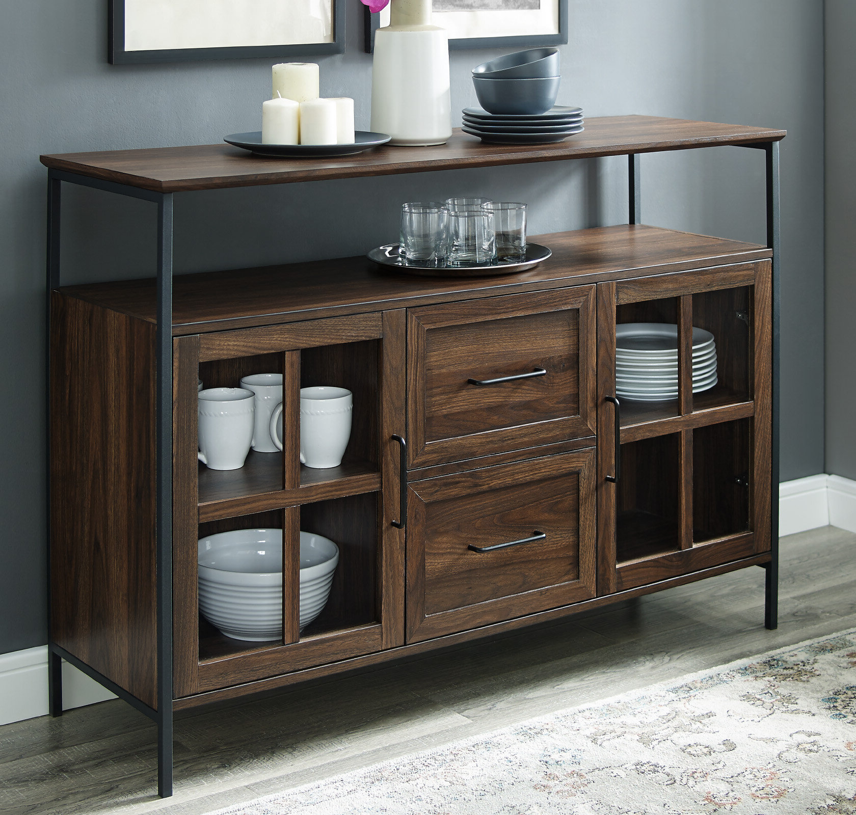 Narrow Buffet Table | Wayfair Within Contemporary Wooden Buffets With One Side Door Storage Cabinets And Two Drawers (View 13 of 20)