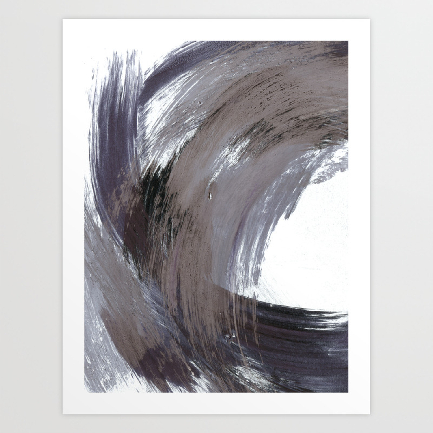 Navy Blue And Grey Minimalist Abstract Brushstroke Painting Art Print With Regard To Strokes And Waves Credenzas (View 19 of 20)