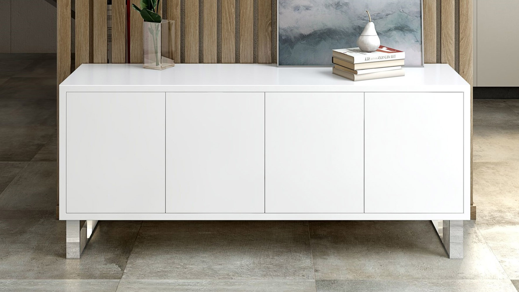 Neve Sideboard Inside White Wood And Chrome Metal High Gloss Buffets (View 7 of 20)