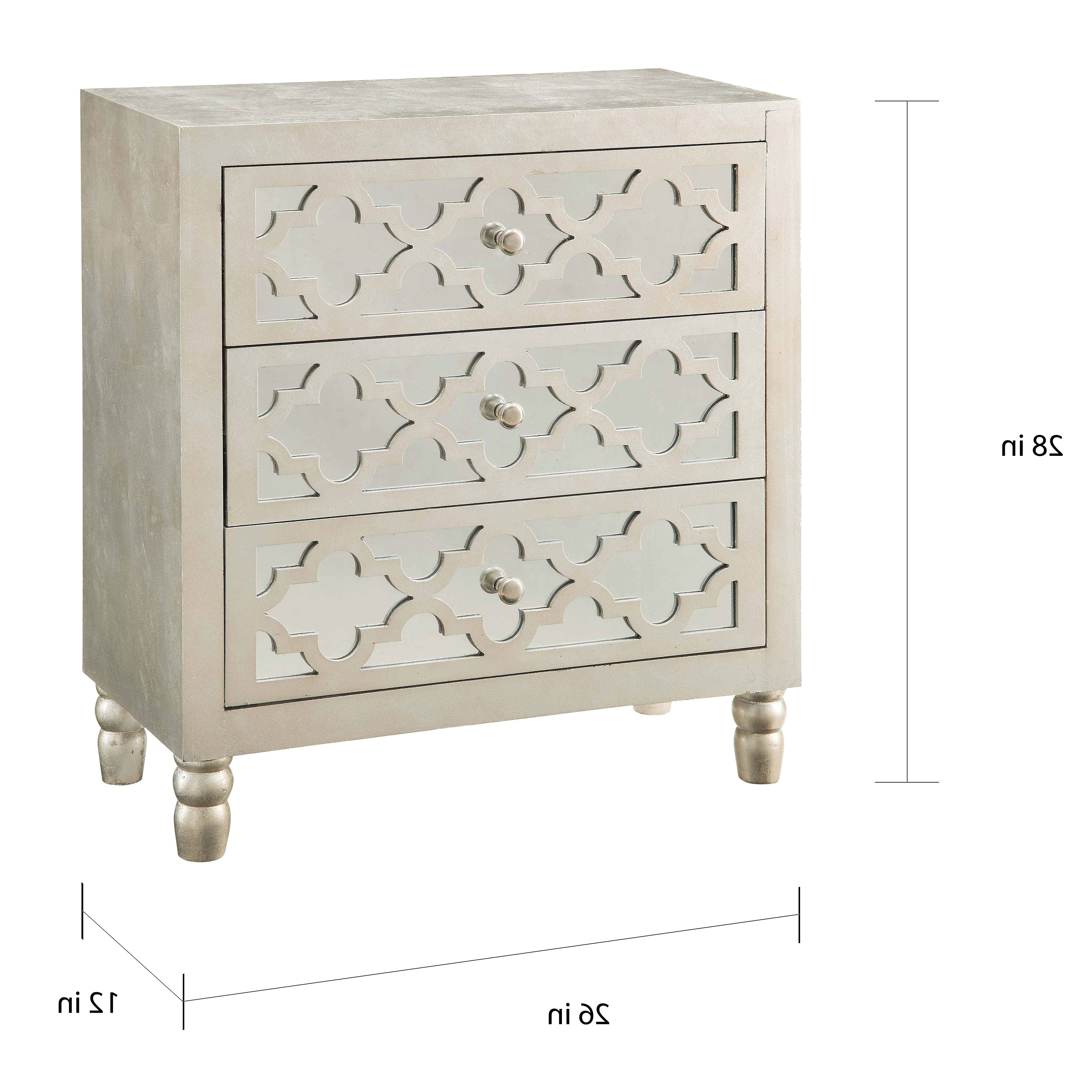 Newcastle Silver Leaf 3 Drawer Chest For 3 Drawer Titanium Buffets (View 13 of 20)